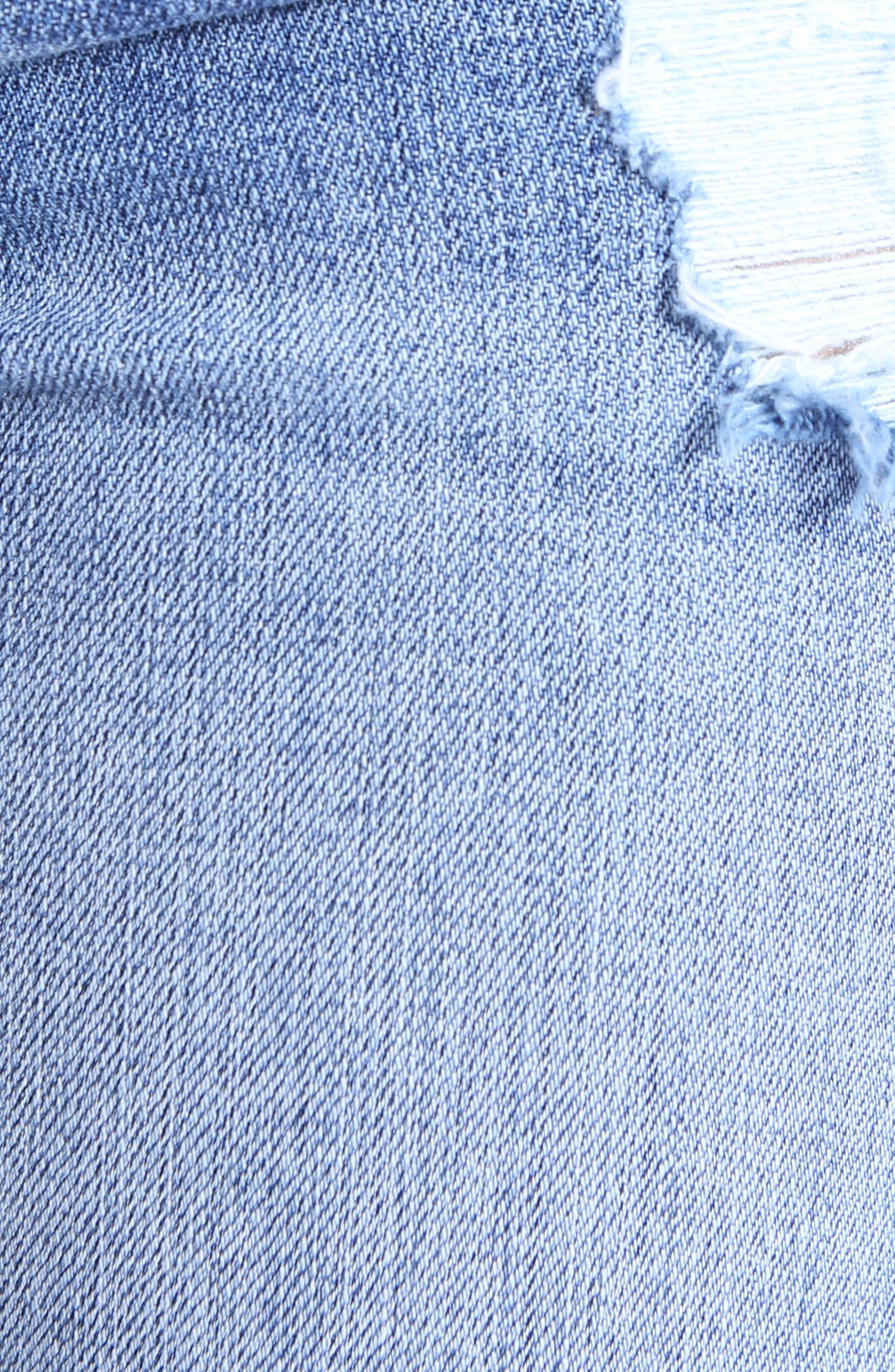 Catherine Ripped Denim Boyfriend Shorts,                             Alternate thumbnail 6, color,                             438