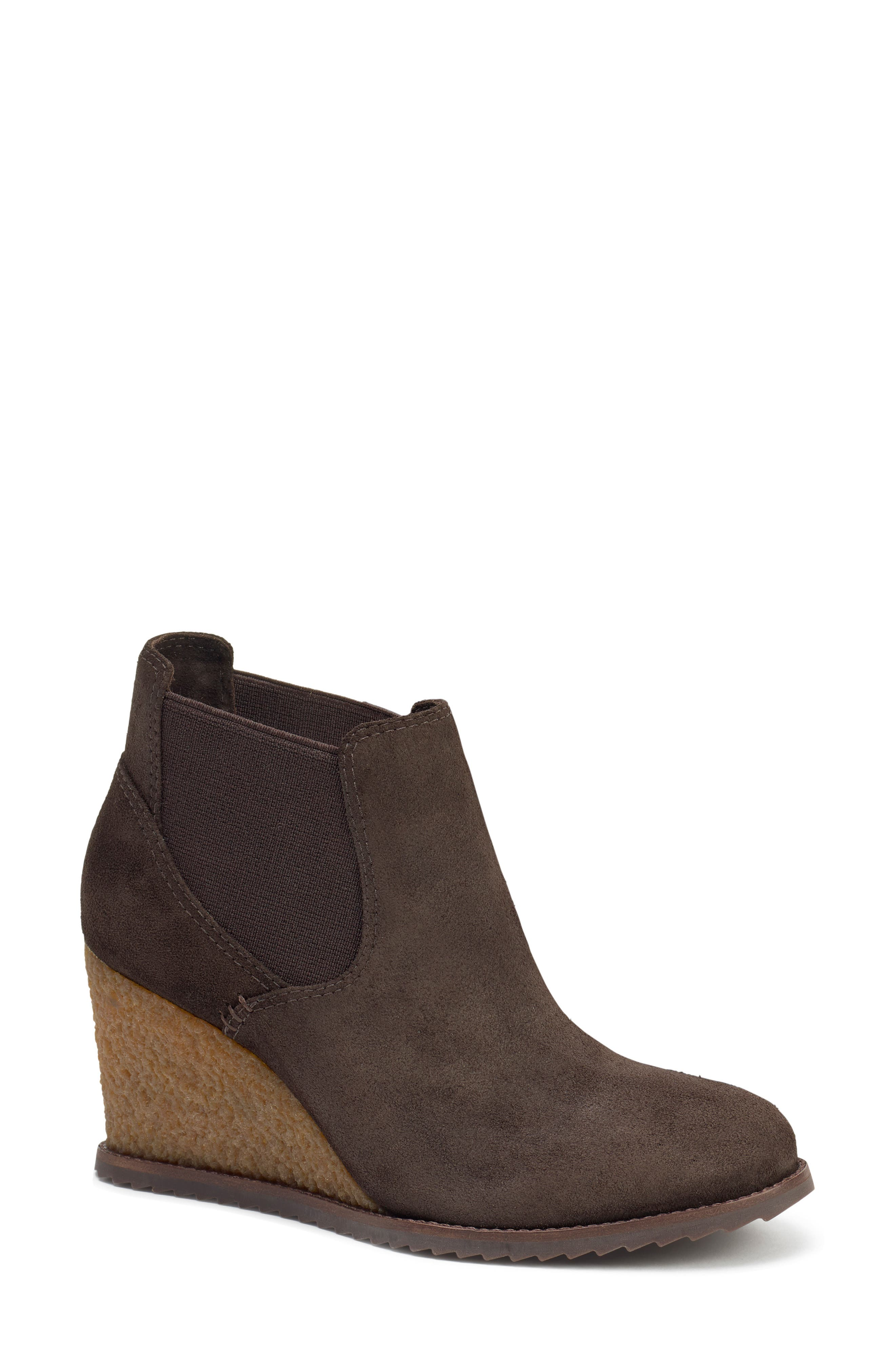 TRASK,                             Tatum Wedge Bootie,                             Main thumbnail 1, color,                             BROWN SUEDE