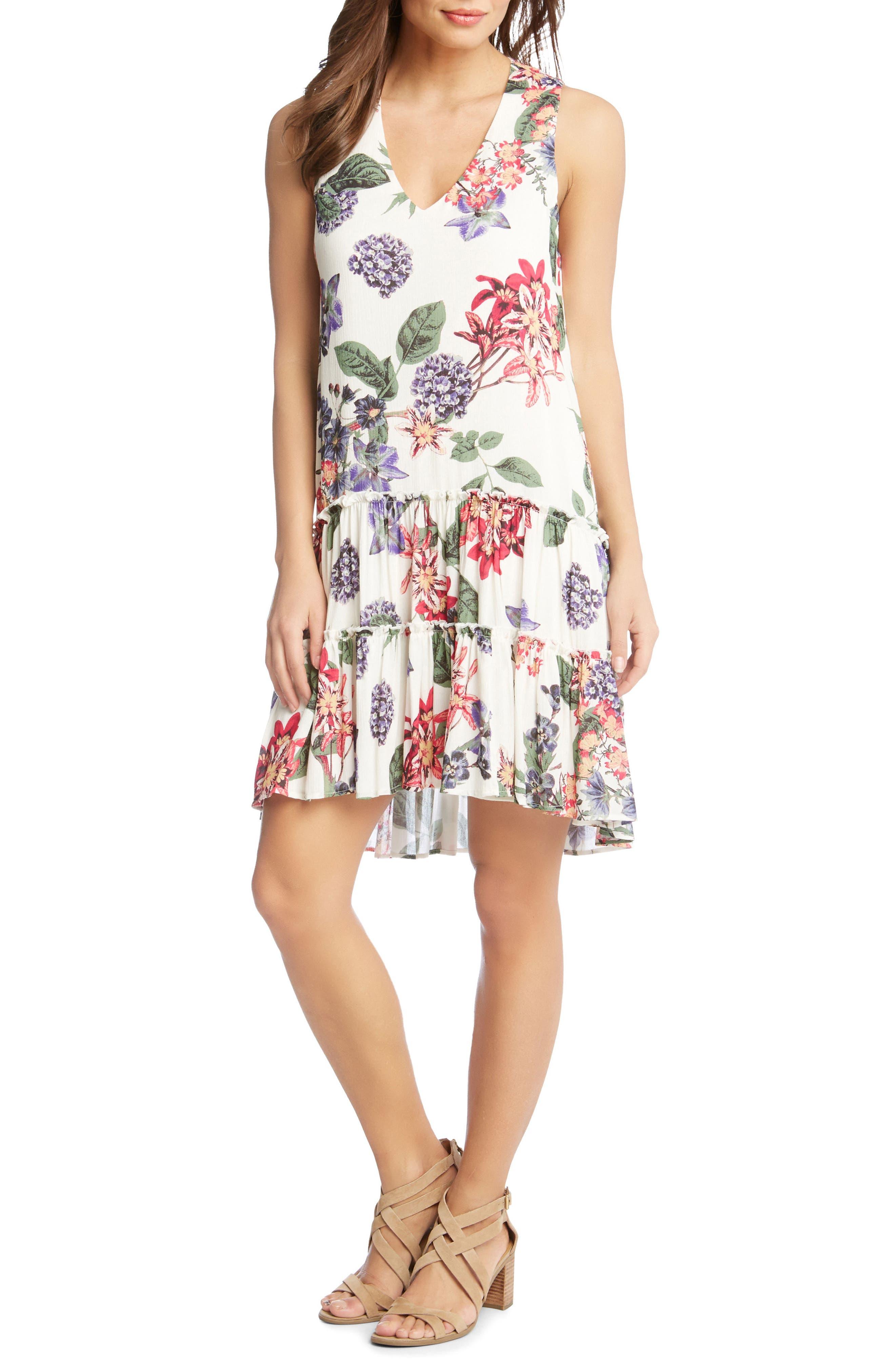 Ruffle Hem Floral Gauze Dress,                             Main thumbnail 1, color,                             PRINT