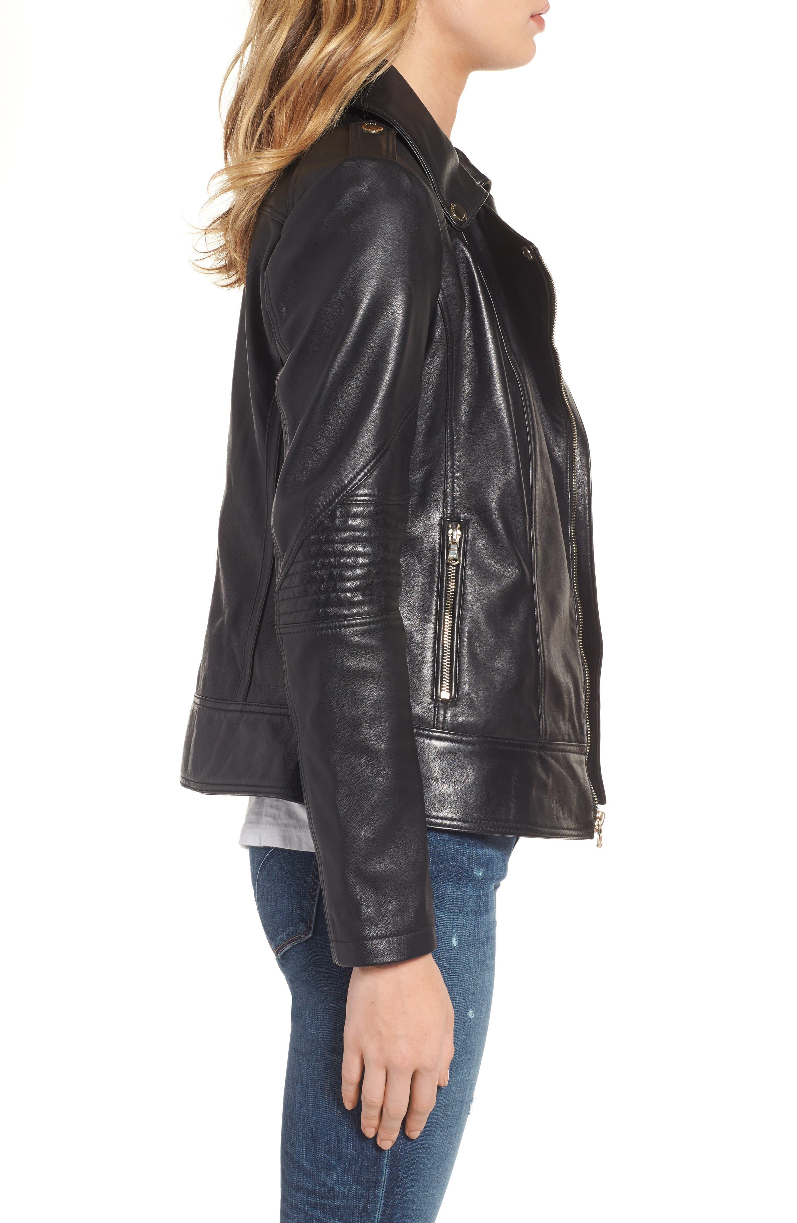 Leather Moto Jacket,                             Alternate thumbnail 5, color,