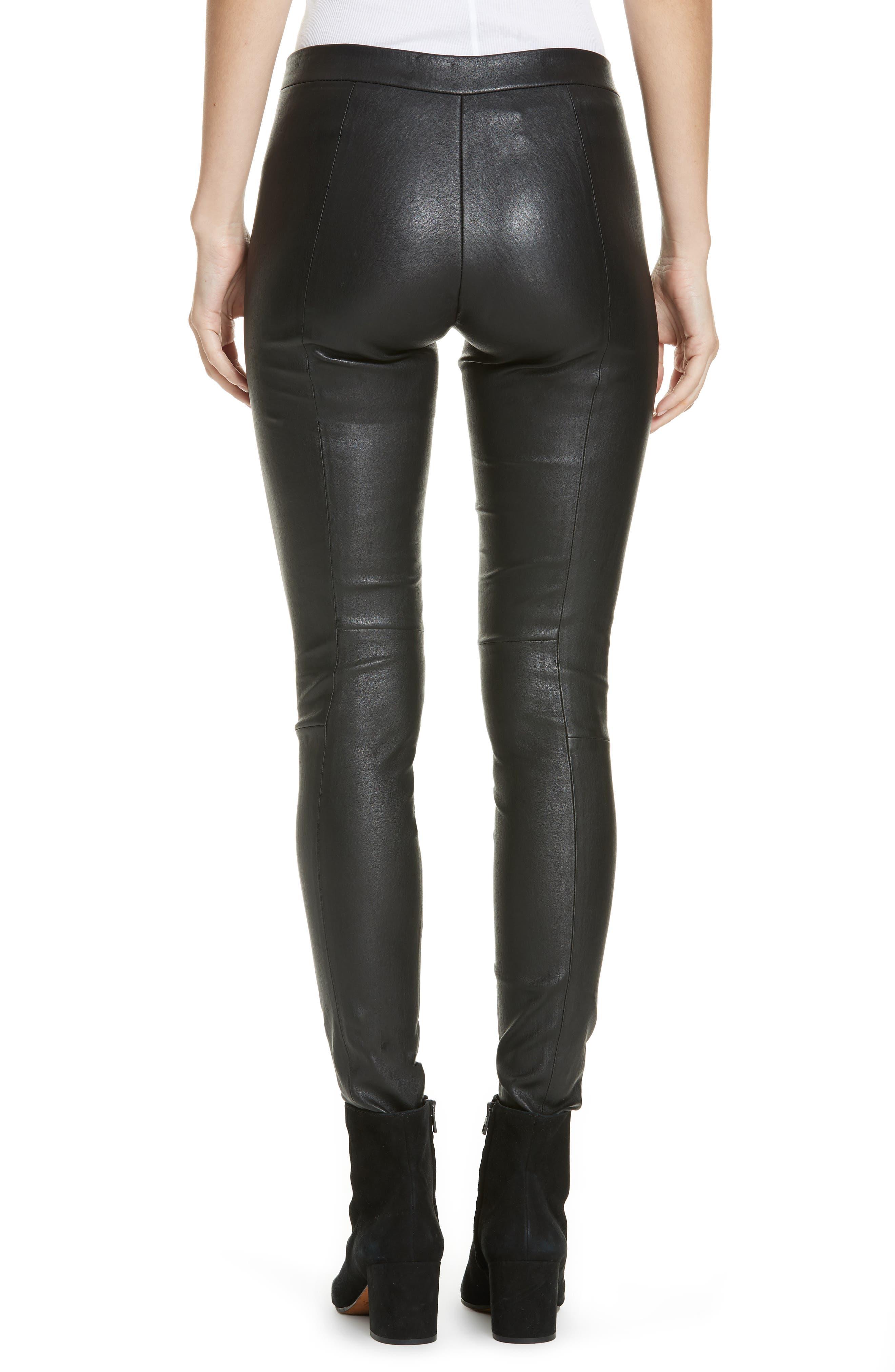 Leather Zip Leggings,                             Alternate thumbnail 2, color,                             BLACK