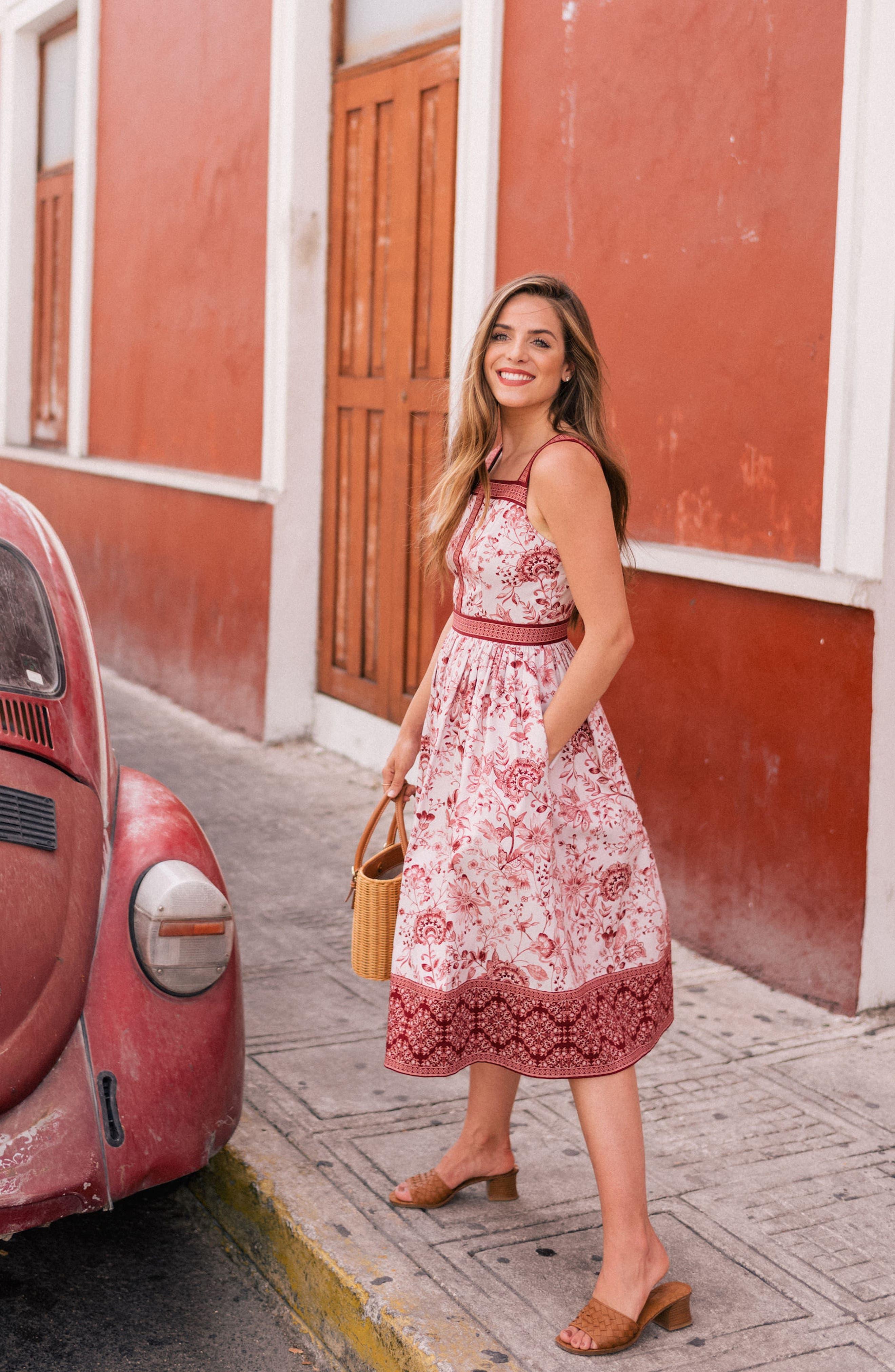 Esme Floral Fit & Flare Dress,                             Alternate thumbnail 10, color,                             CHAMPAGNE/ BURGUNDY