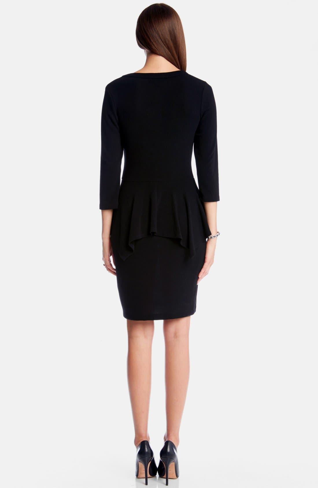 Peplum Sweater Dress,                             Alternate thumbnail 2, color,                             001