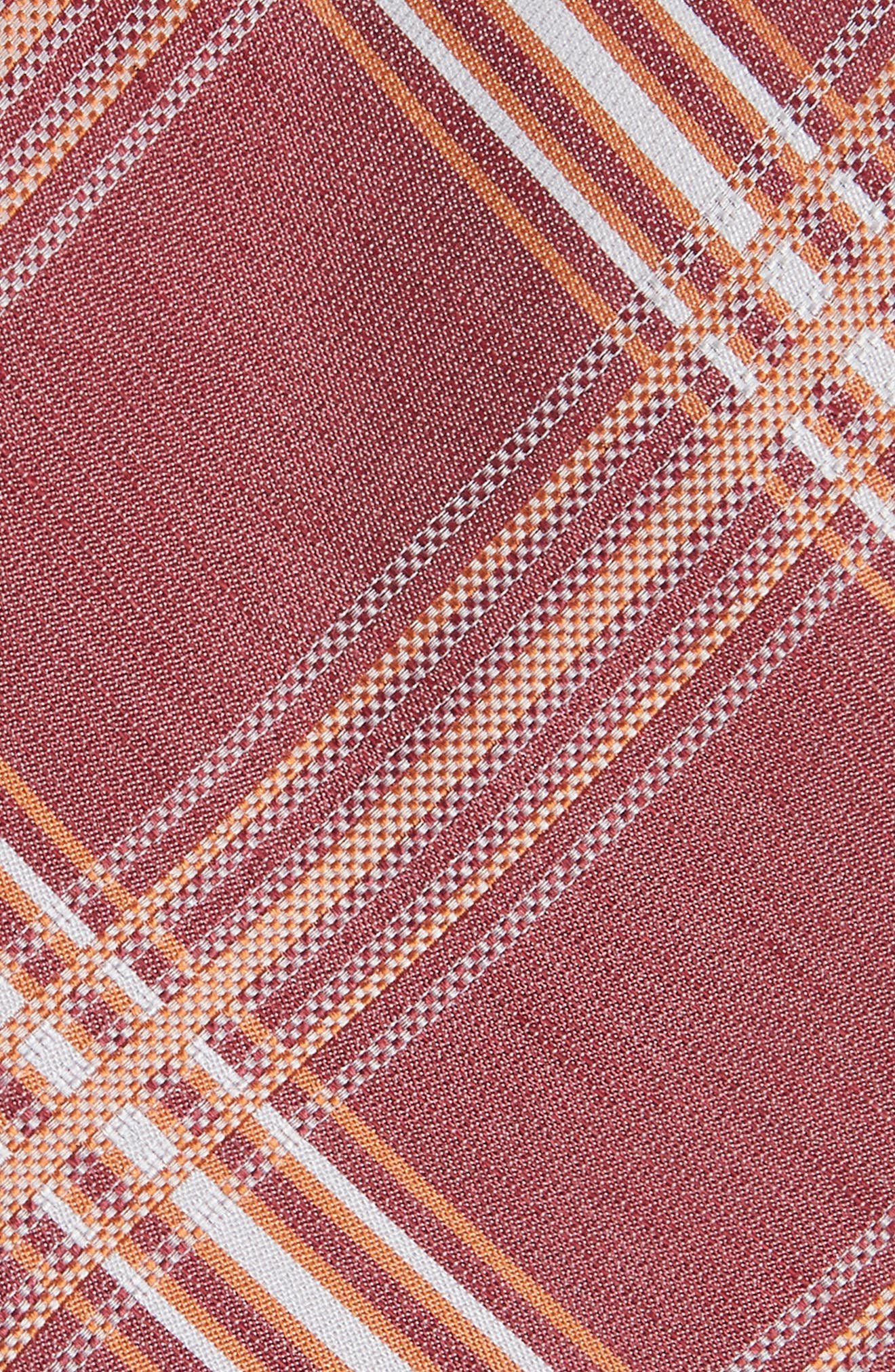 KP Plaid Silk & Linen Tie,                             Alternate thumbnail 2, color,                             MARSALA
