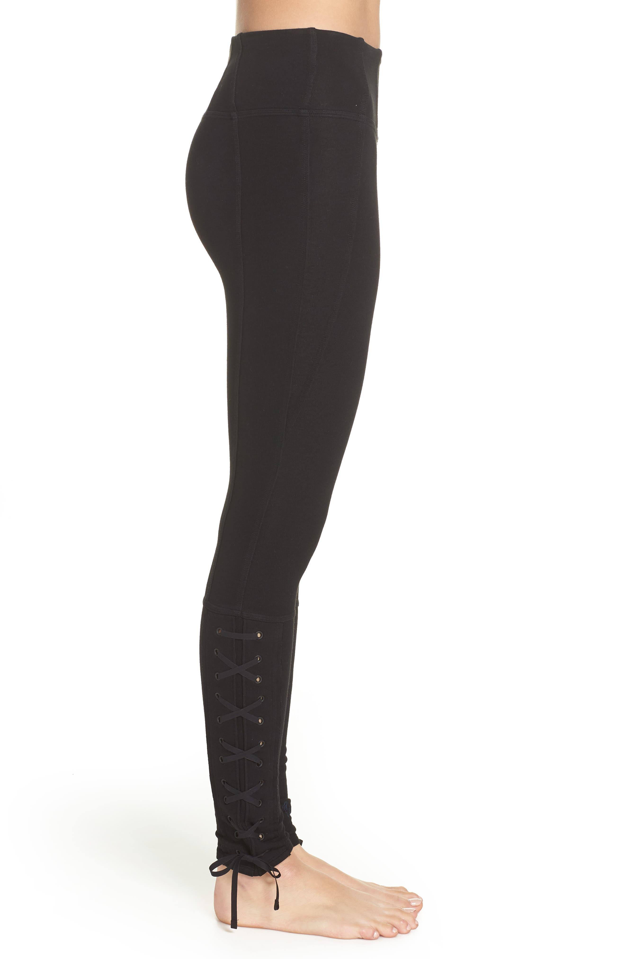 FP Movement Pixi Lace-Up Leggings,                             Alternate thumbnail 3, color,                             BLACK