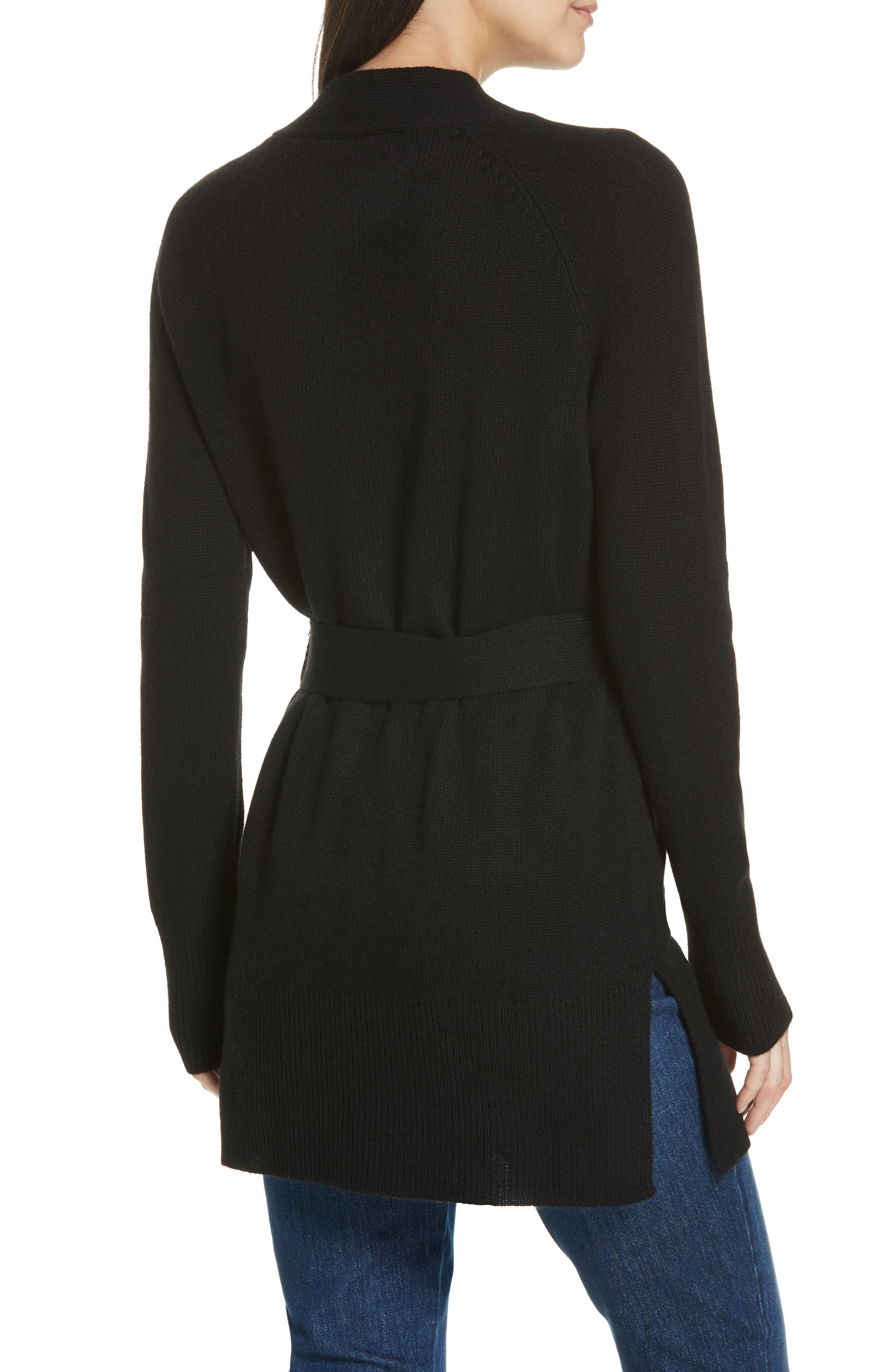 Malinka O Cashmere Tie Waist Cardigan,                             Alternate thumbnail 2, color,                             BLACK