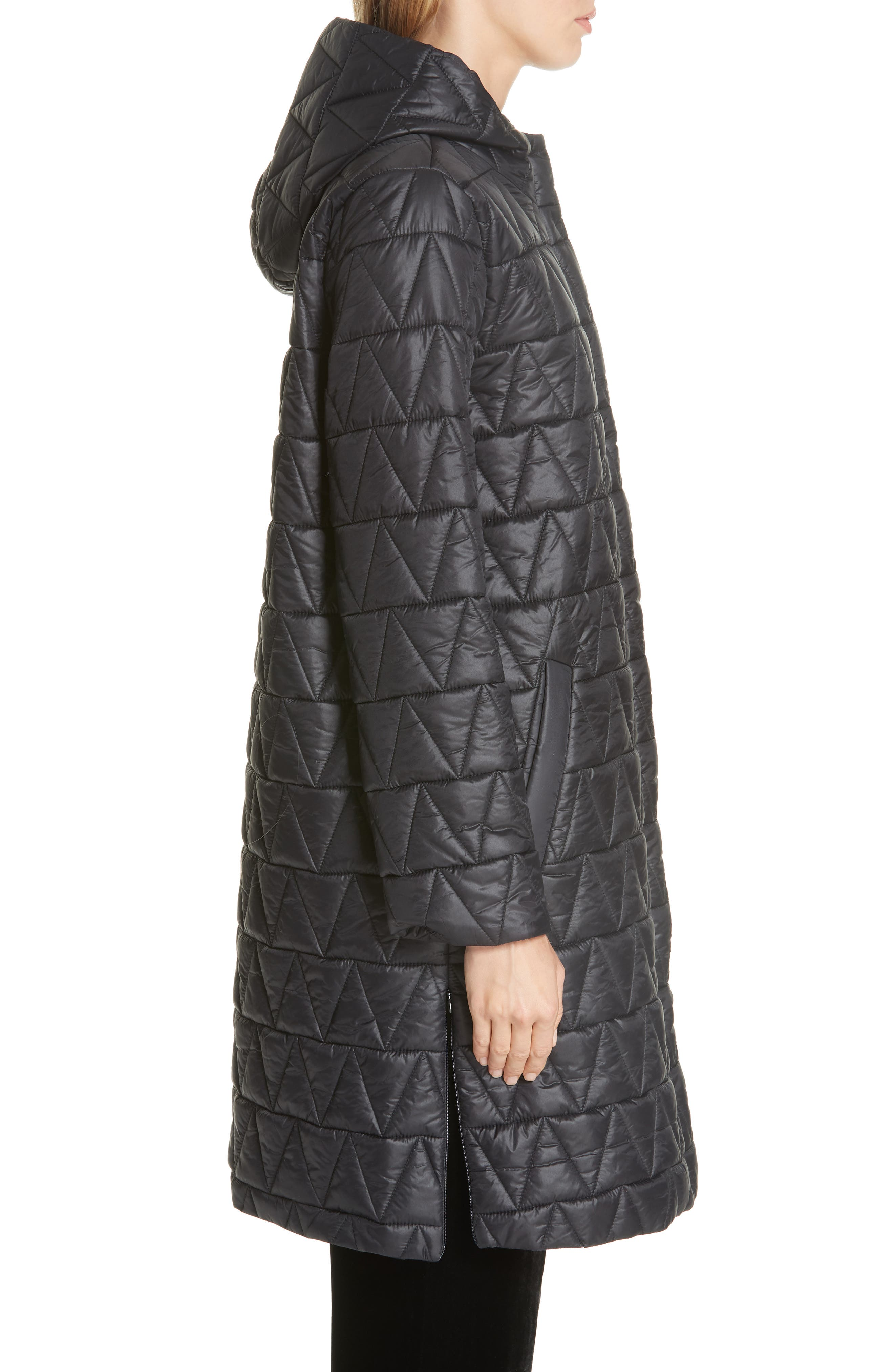 Hooded Quilted Coat,                             Alternate thumbnail 3, color,                             001