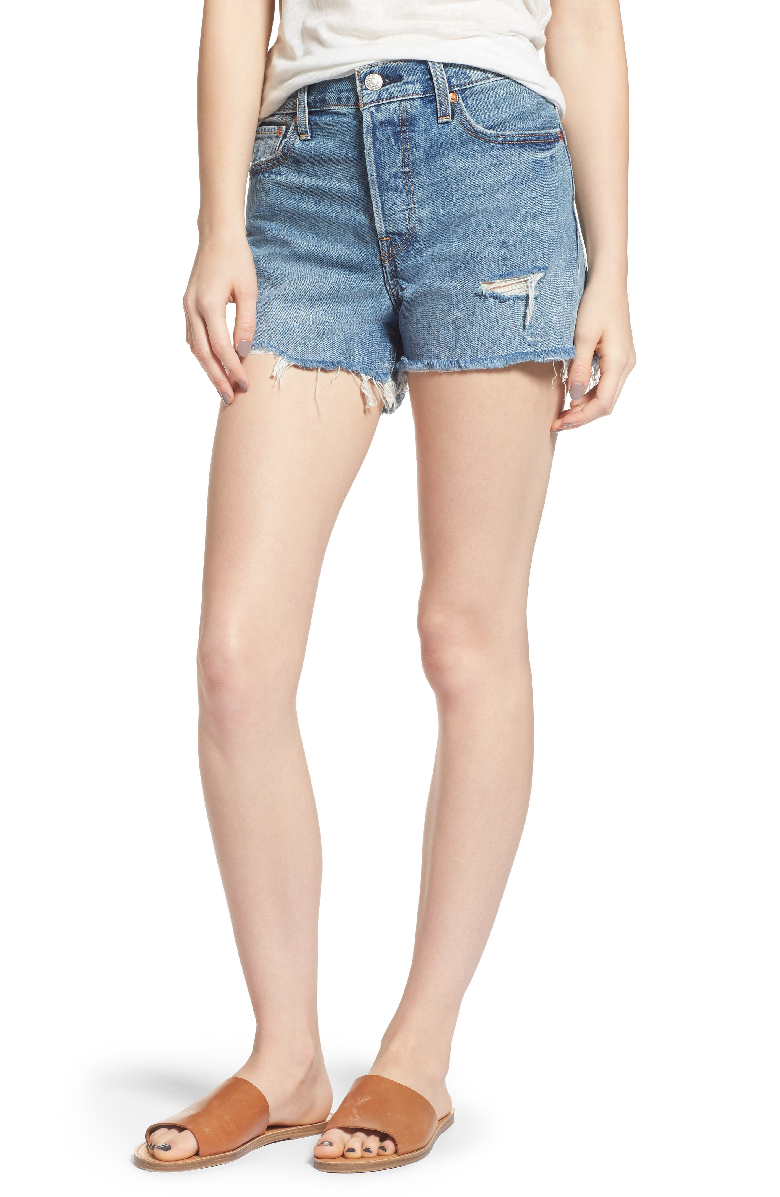 Wedgie High Waist Cutoff Denim Shorts,                         Main,                         color, BLUE YOUR MIND