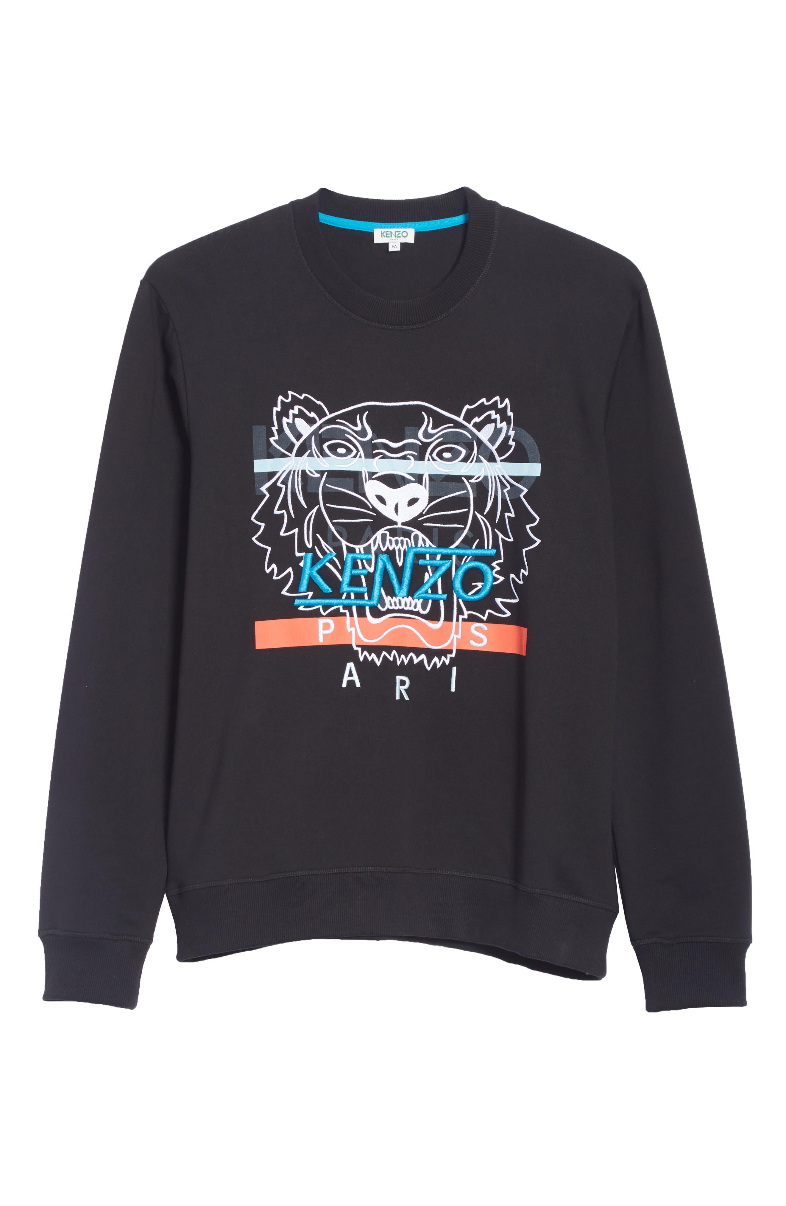 KENZO,                             Hyper Tiger Logo Sweatshirt,                             Alternate thumbnail 6, color,                             001