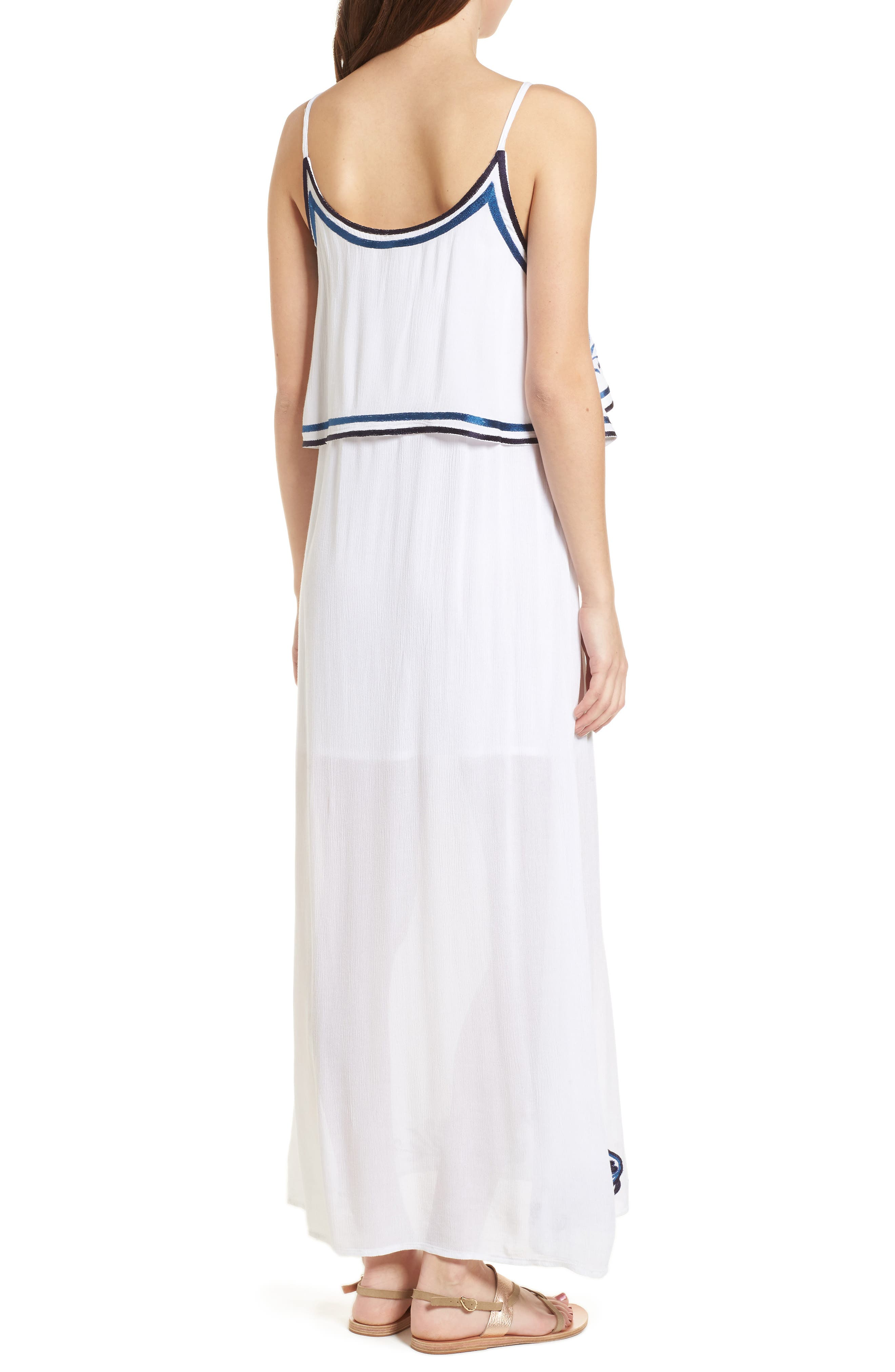 Mediterranean Embroidered Maxi Dress,                             Alternate thumbnail 2, color,                             100
