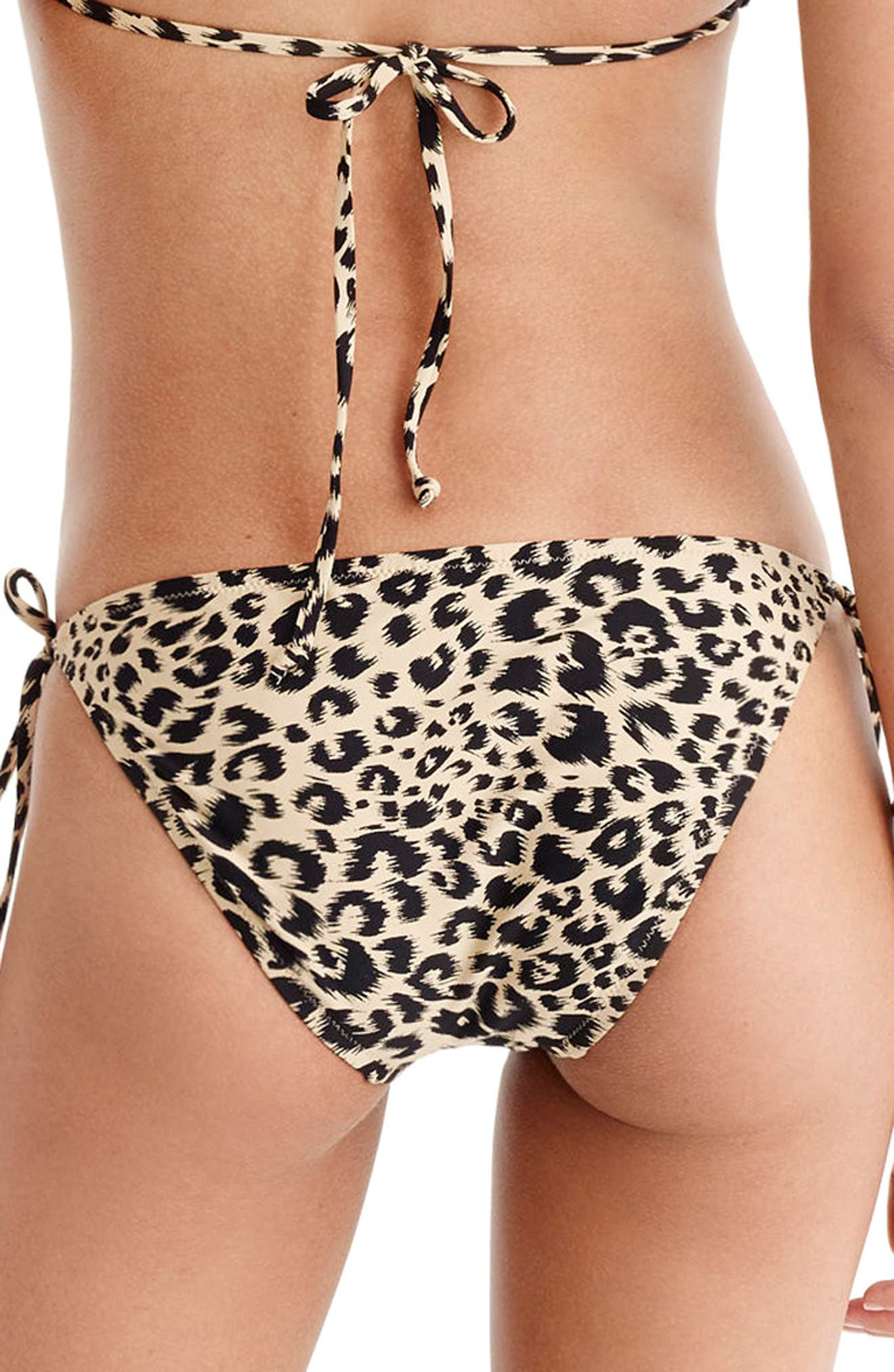 Leopard String Bikini Bottoms,                             Alternate thumbnail 2, color,