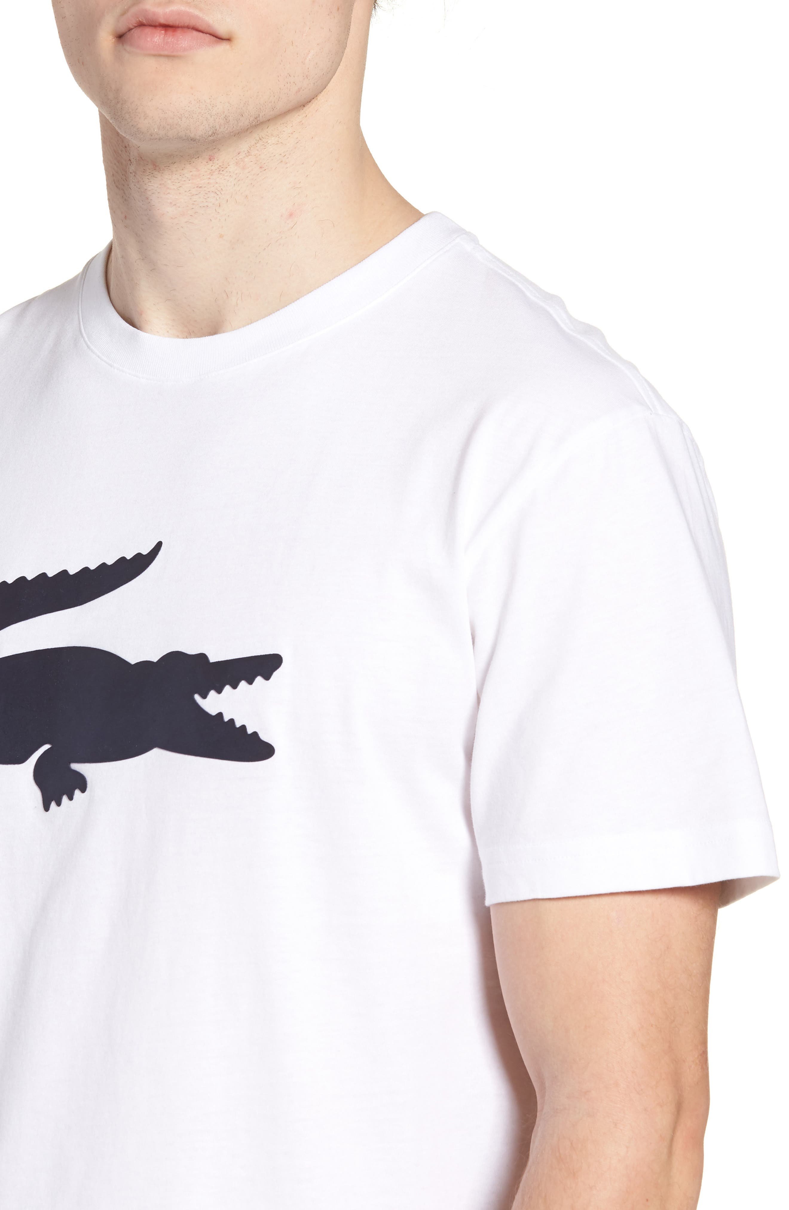 Crocodile T-Shirt,                             Alternate thumbnail 4, color,                             WHITE/ NAVY BLUE