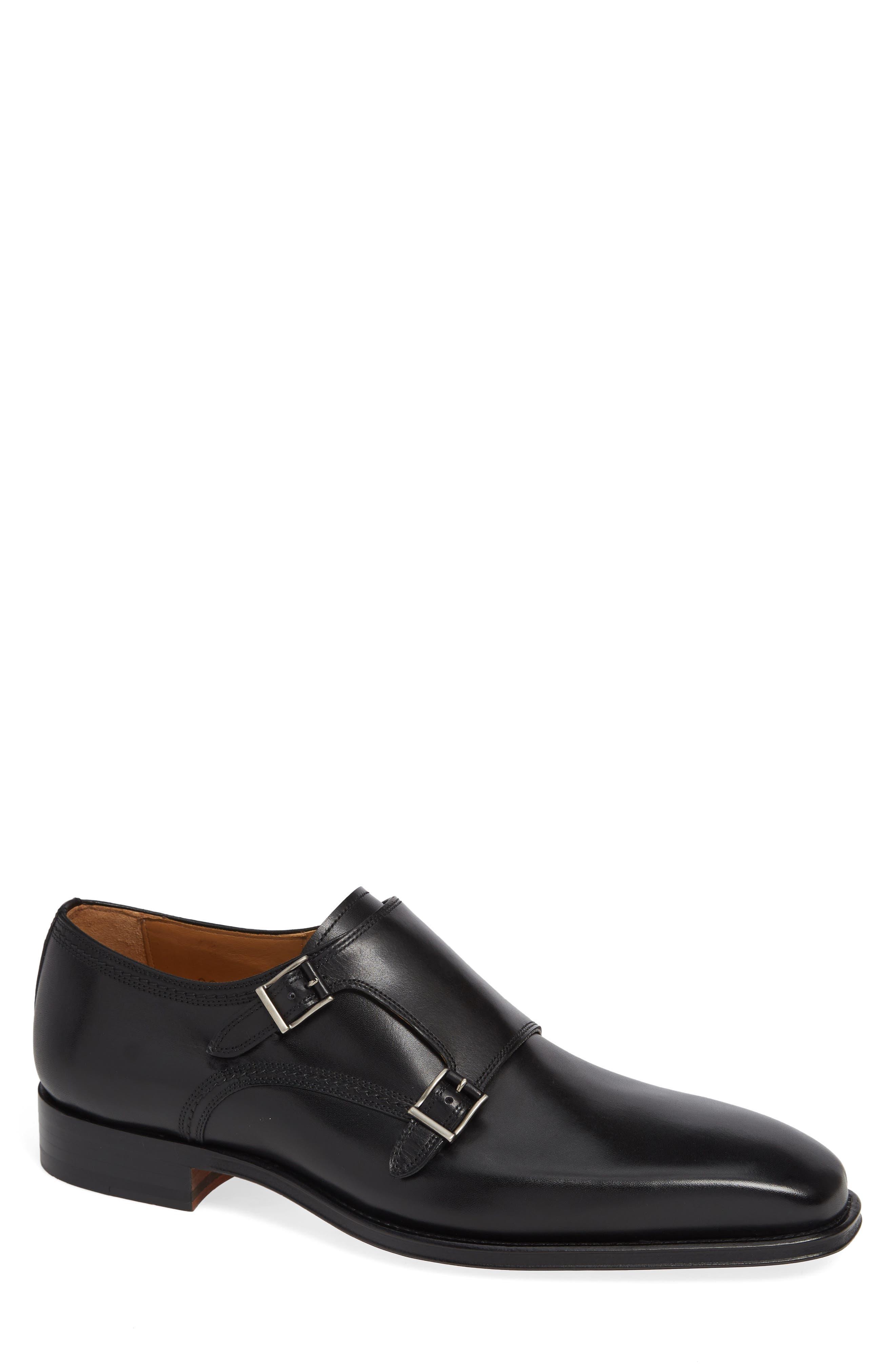 Landon Double Strap Monk Shoe,                         Main,                         color, BLACK LEATHER