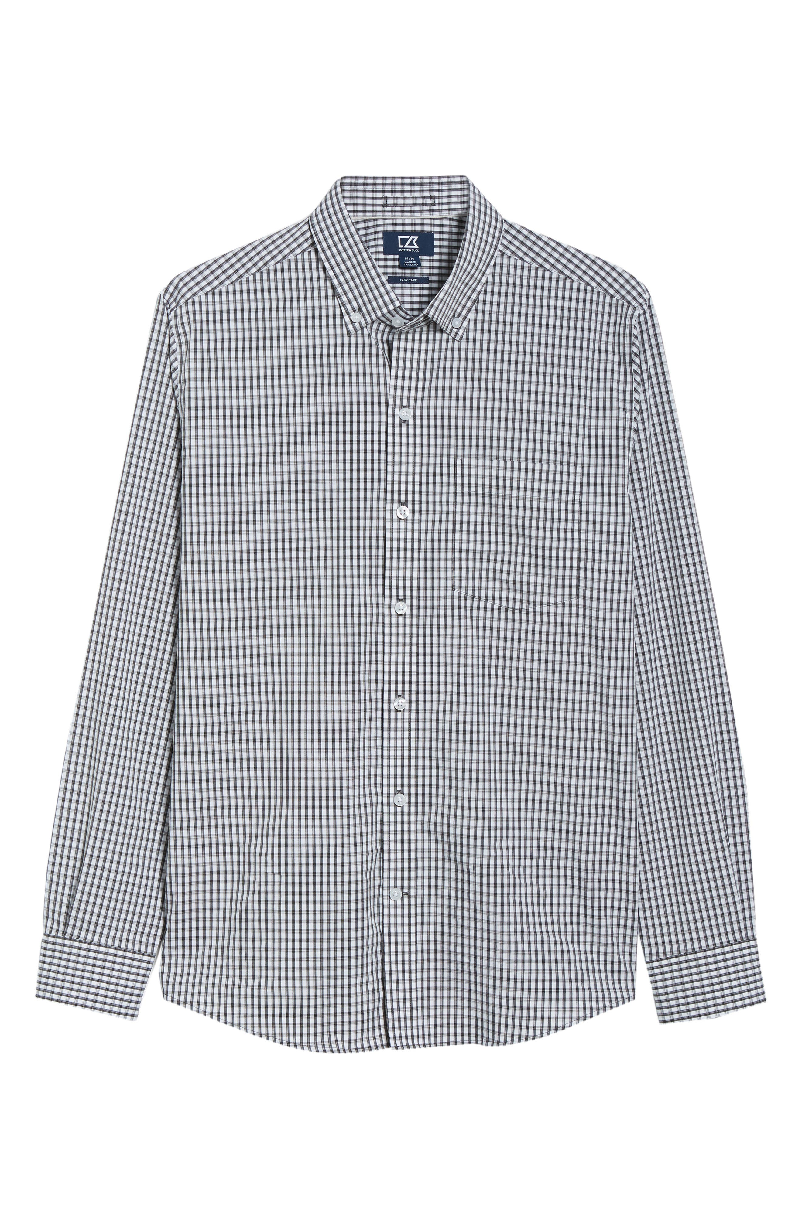 Regular Fit Gingham Non-Iron Sport Shirt,                             Alternate thumbnail 5, color,                             CHARCOAL