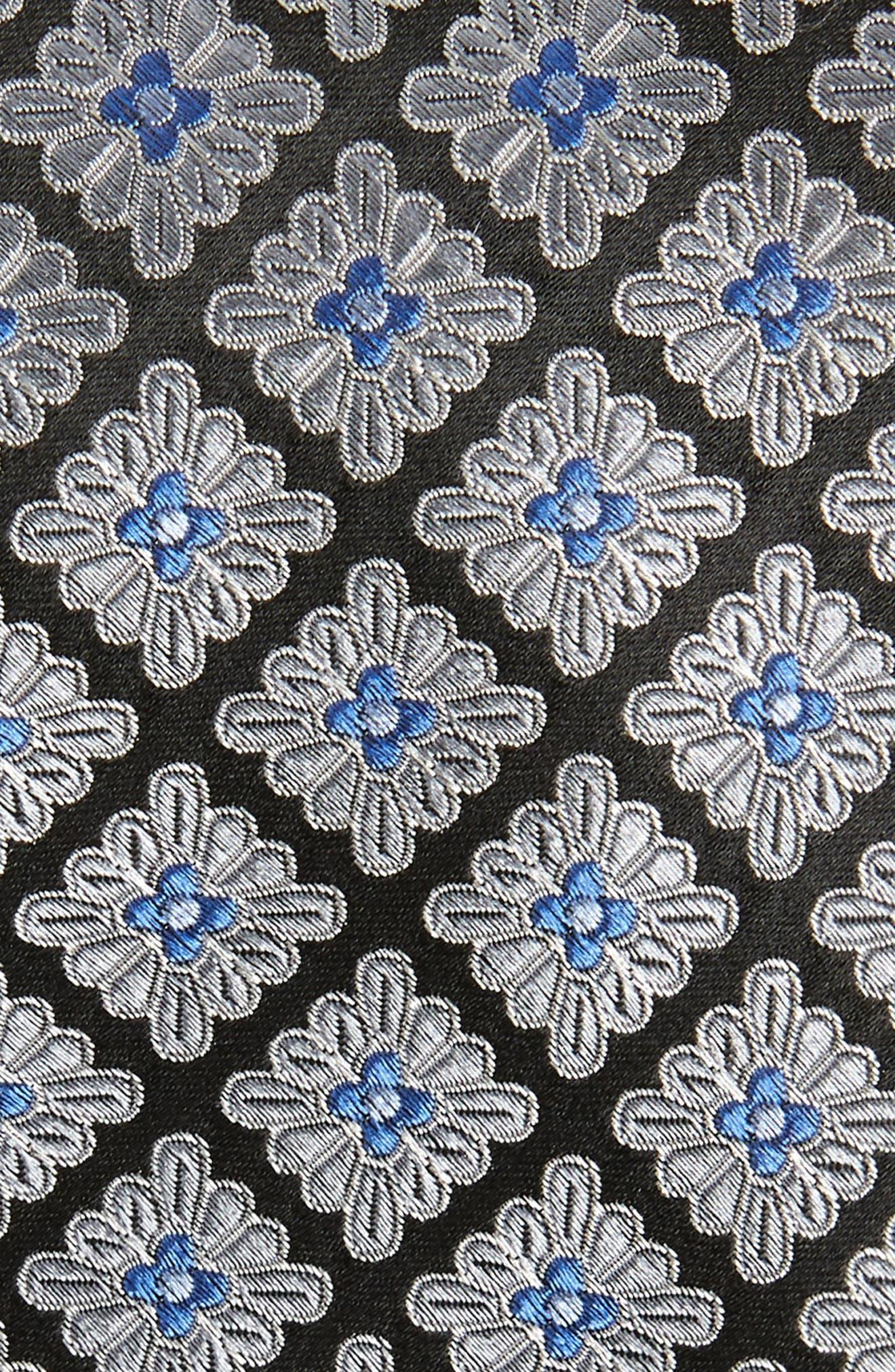 Lily Medallion Silk Tie,                             Alternate thumbnail 2, color,                             BLACK
