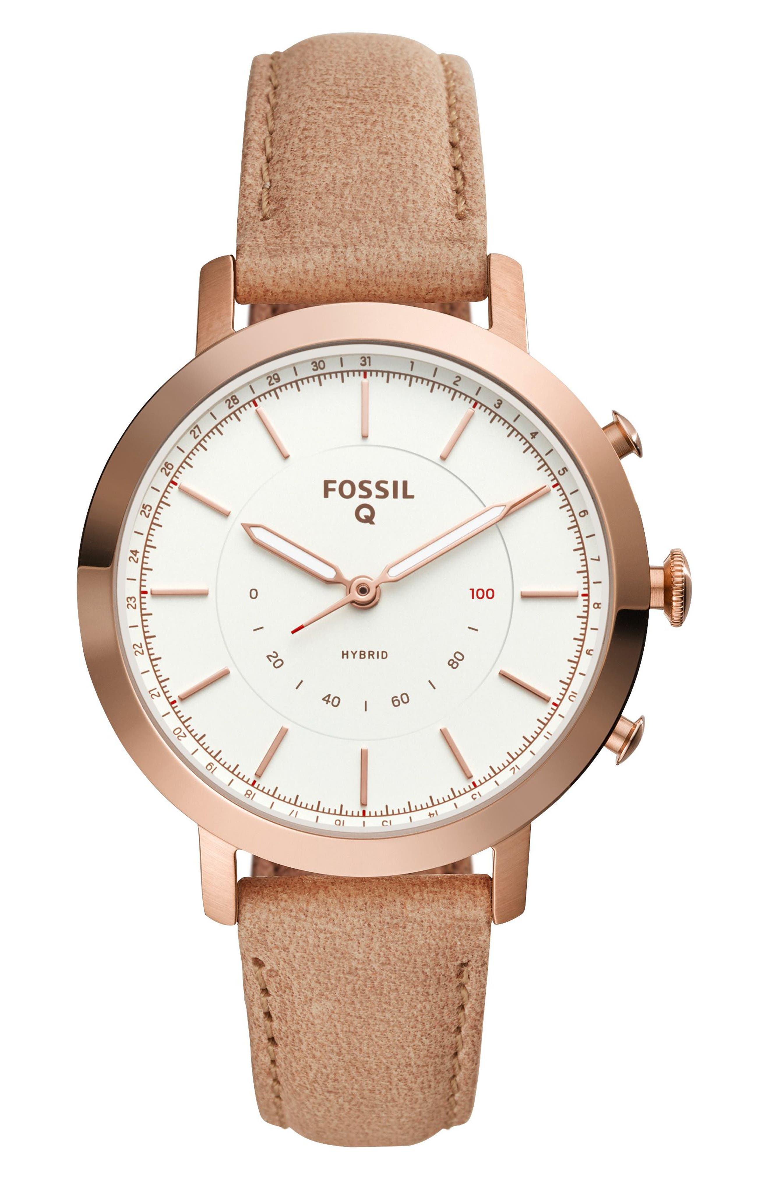 Neely Leather Strap Hybrid Smart Watch, 36mm,                         Main,                         color, BEIGE/ WHITE/ ROSE GOLD