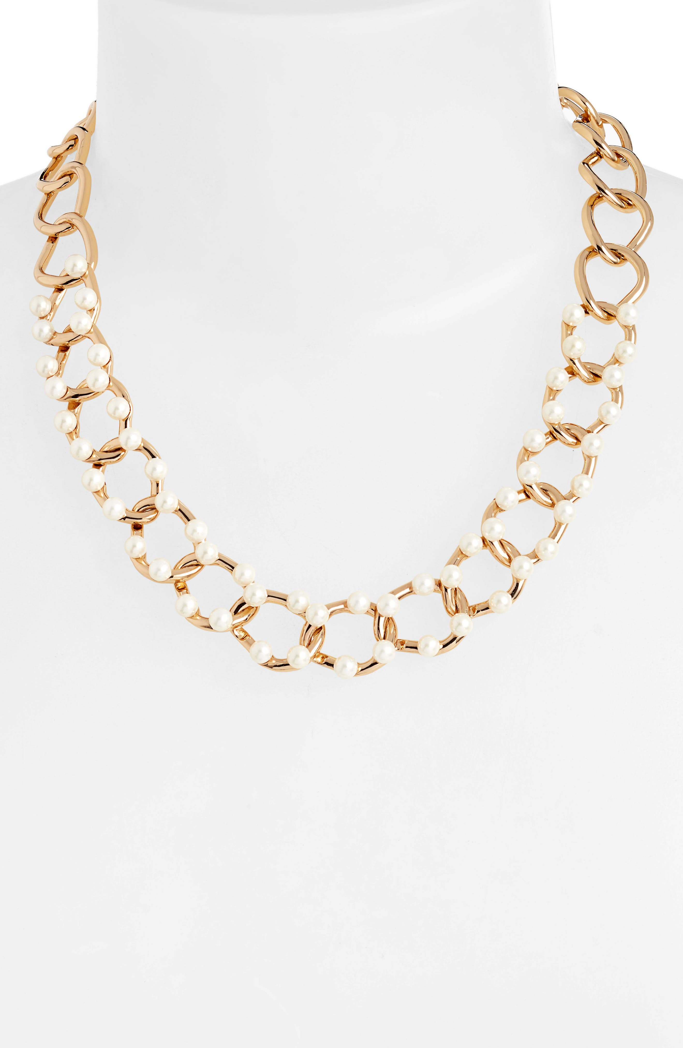Faux Pearl Link Necklace,                             Alternate thumbnail 2, color,                             GOLD/ PEARL