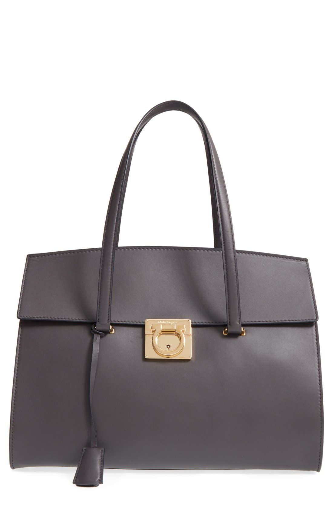 Large Smooth Leather Satchel,                             Main thumbnail 2, color,