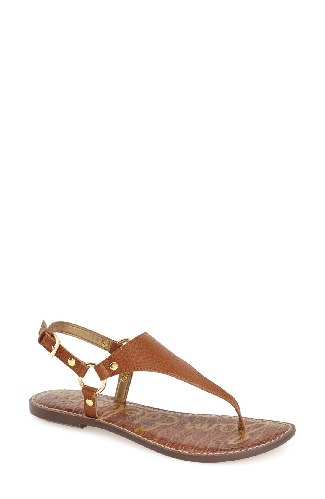 Greta Sandal,                             Main thumbnail 1, color,                             SOFT SADDLE LEATHER