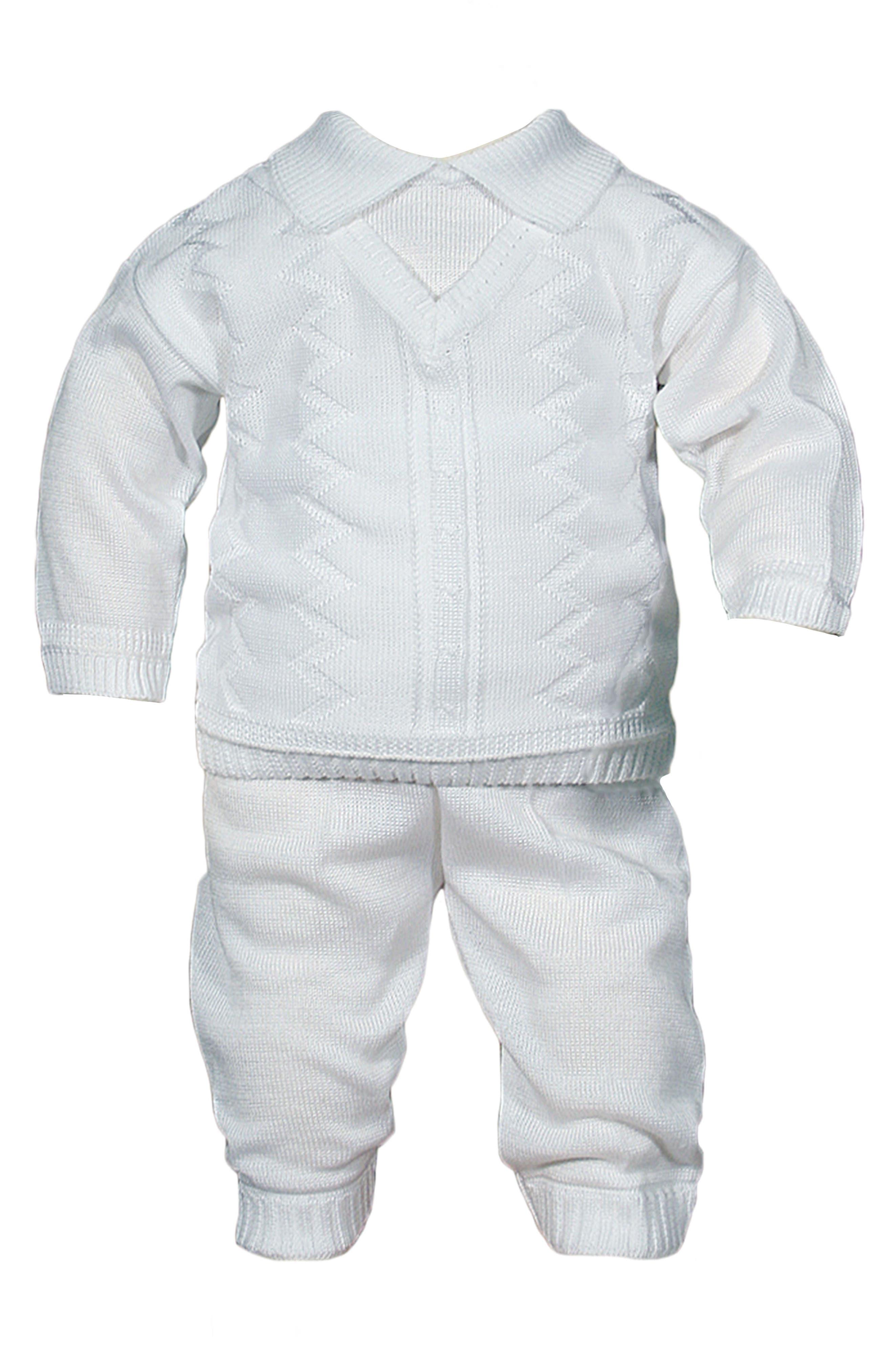 LITTLE THINGS MEAN A LOT,                             Knit Shirt & Pants Set,                             Main thumbnail 1, color,                             WHITE