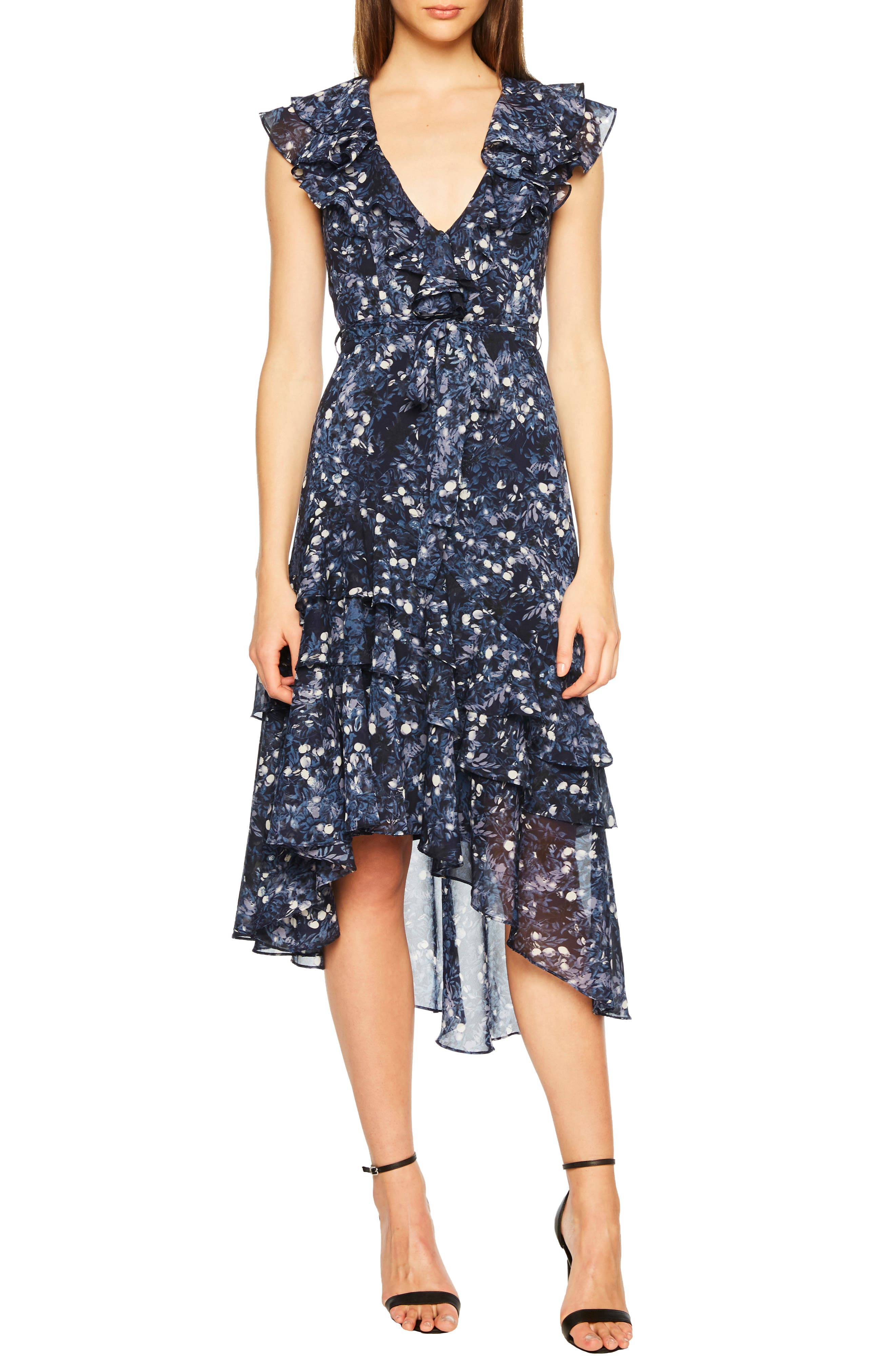 Bardot Romance Asymmetrical Frill Dress, Blue