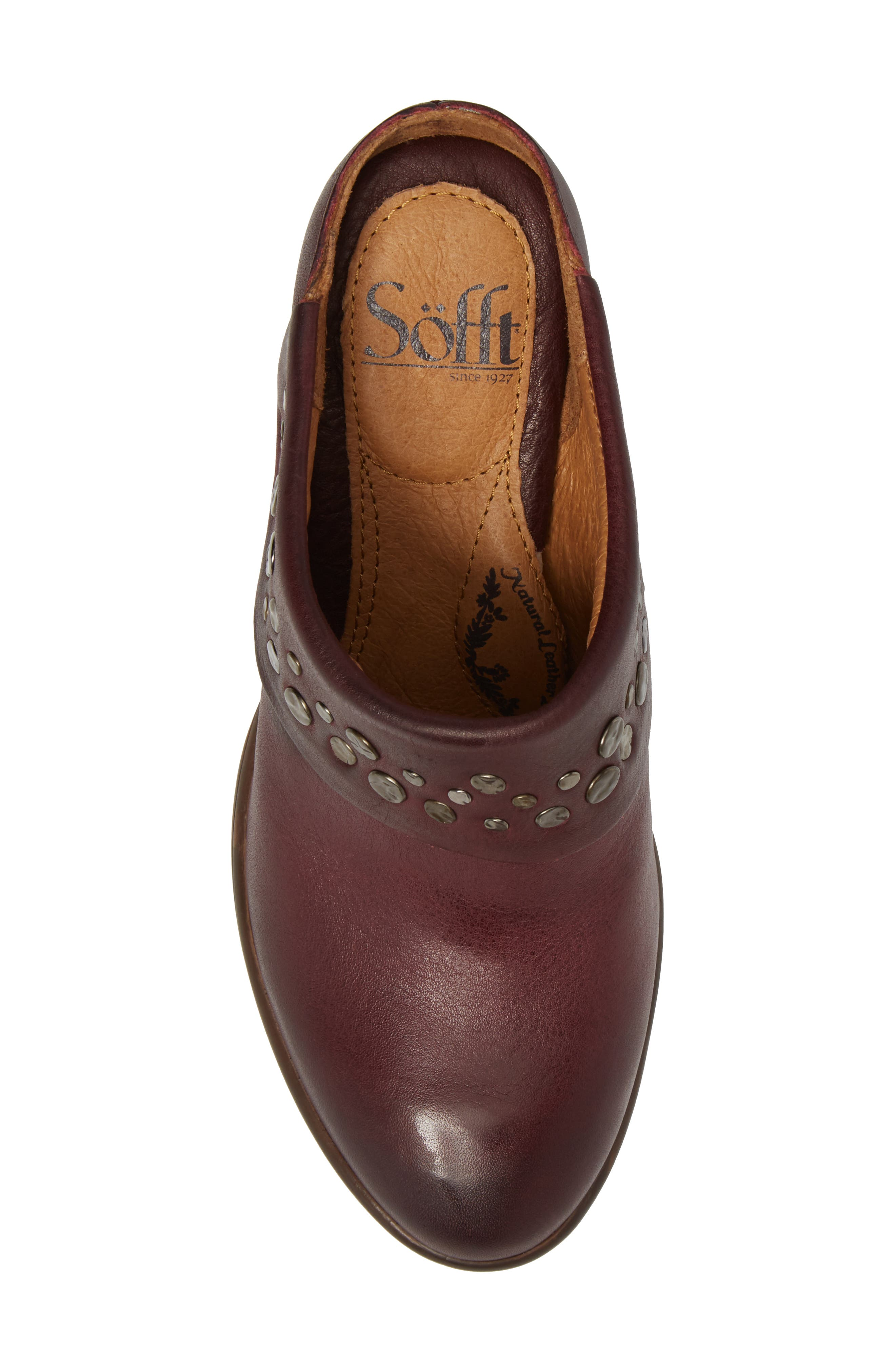 Gila Studded Mule,                             Alternate thumbnail 5, color,                             MARSALA RED LEATHER