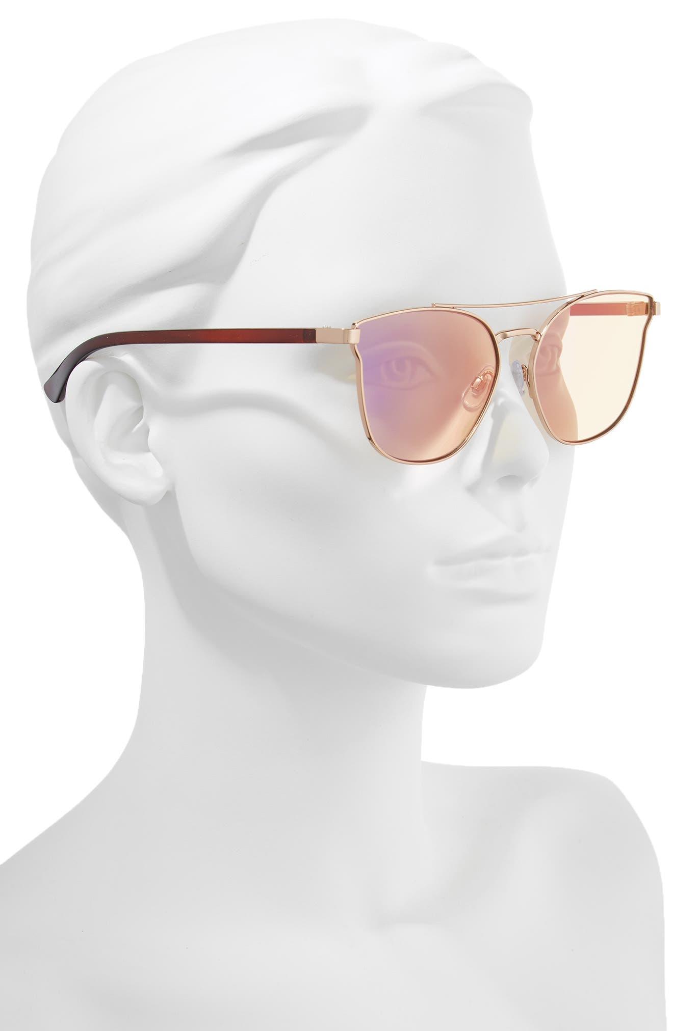 56mm Flat Mirrored Aviator Sunglasses,                             Alternate thumbnail 2, color,                             BRONZE/ BROWN
