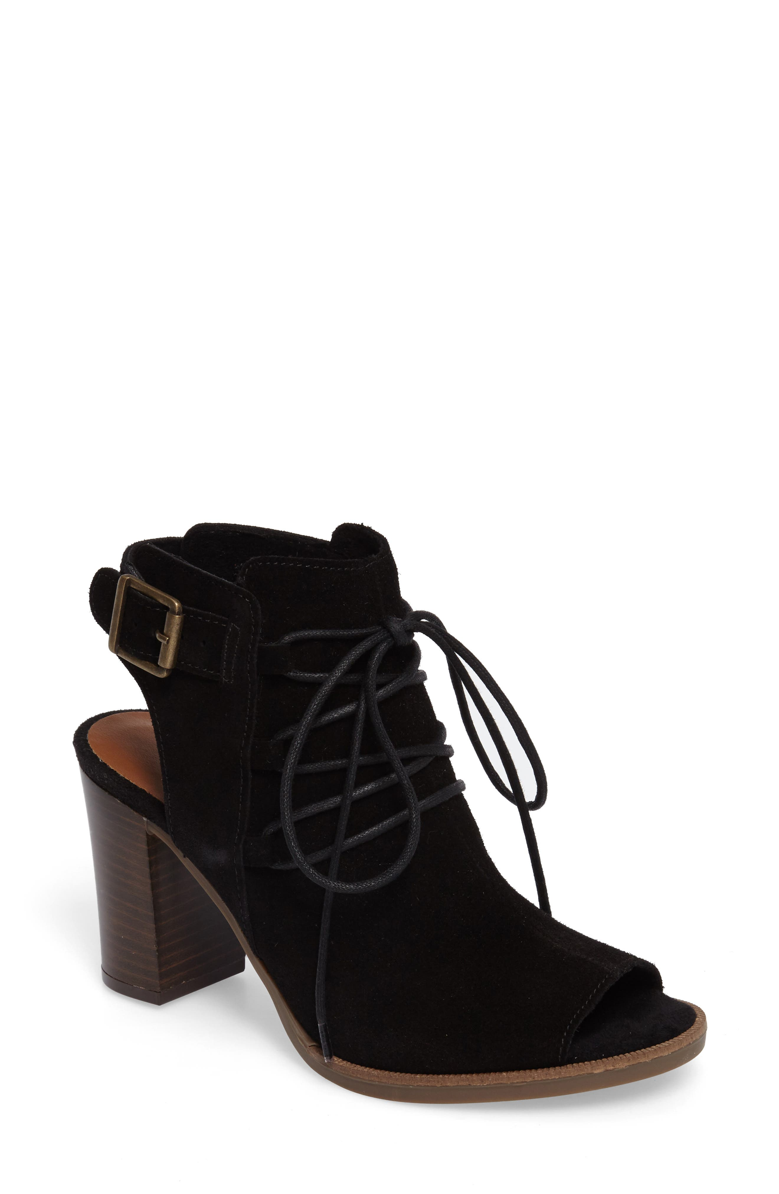 Pru Lace-Up Peep Toe Bootie,                             Main thumbnail 1, color,                             018