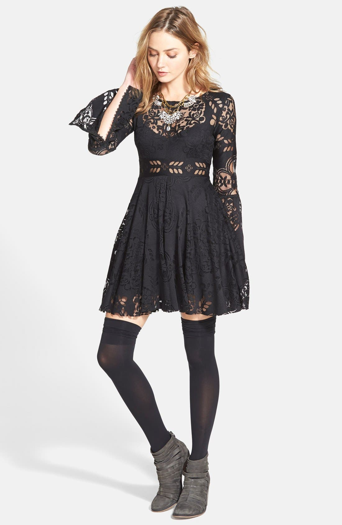 'Lace Lovers Folk Song' Bell Sleeve Cutout Skater Dress,                             Alternate thumbnail 3, color,