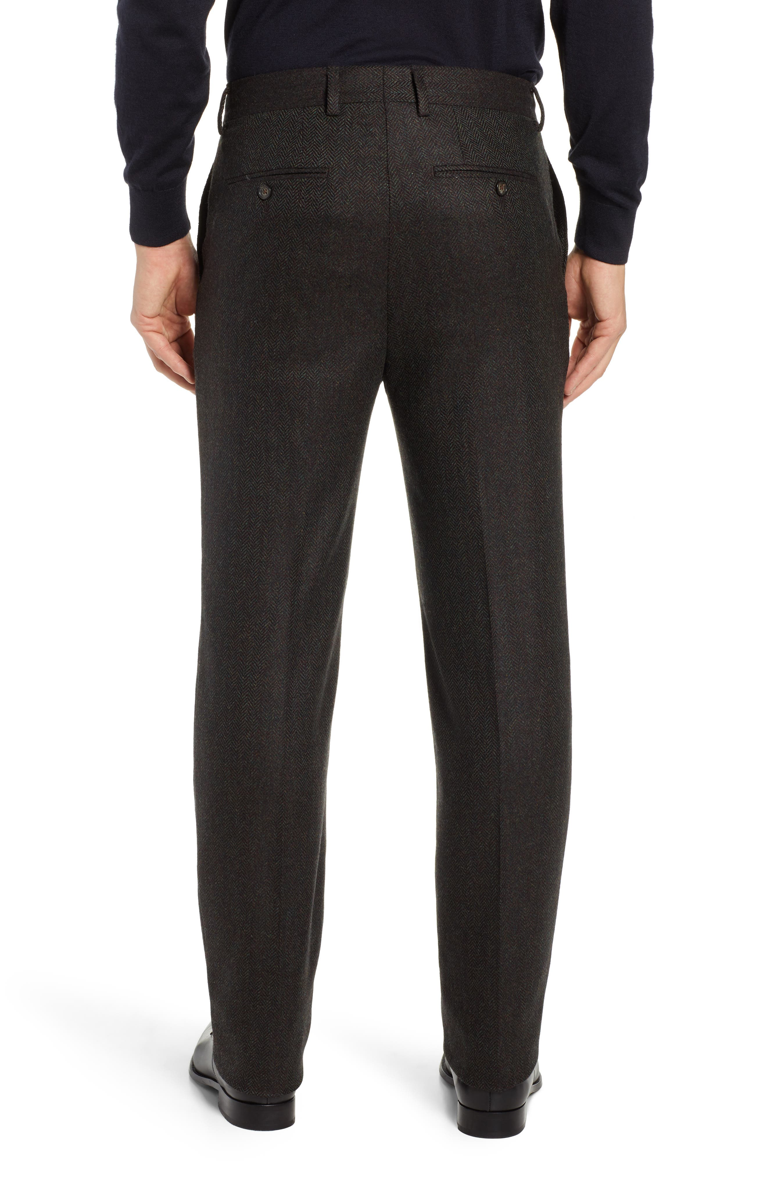 Flat Front Herringbone Wool & Cashmere Trousers,                             Alternate thumbnail 2, color,                             DARK OLIVE