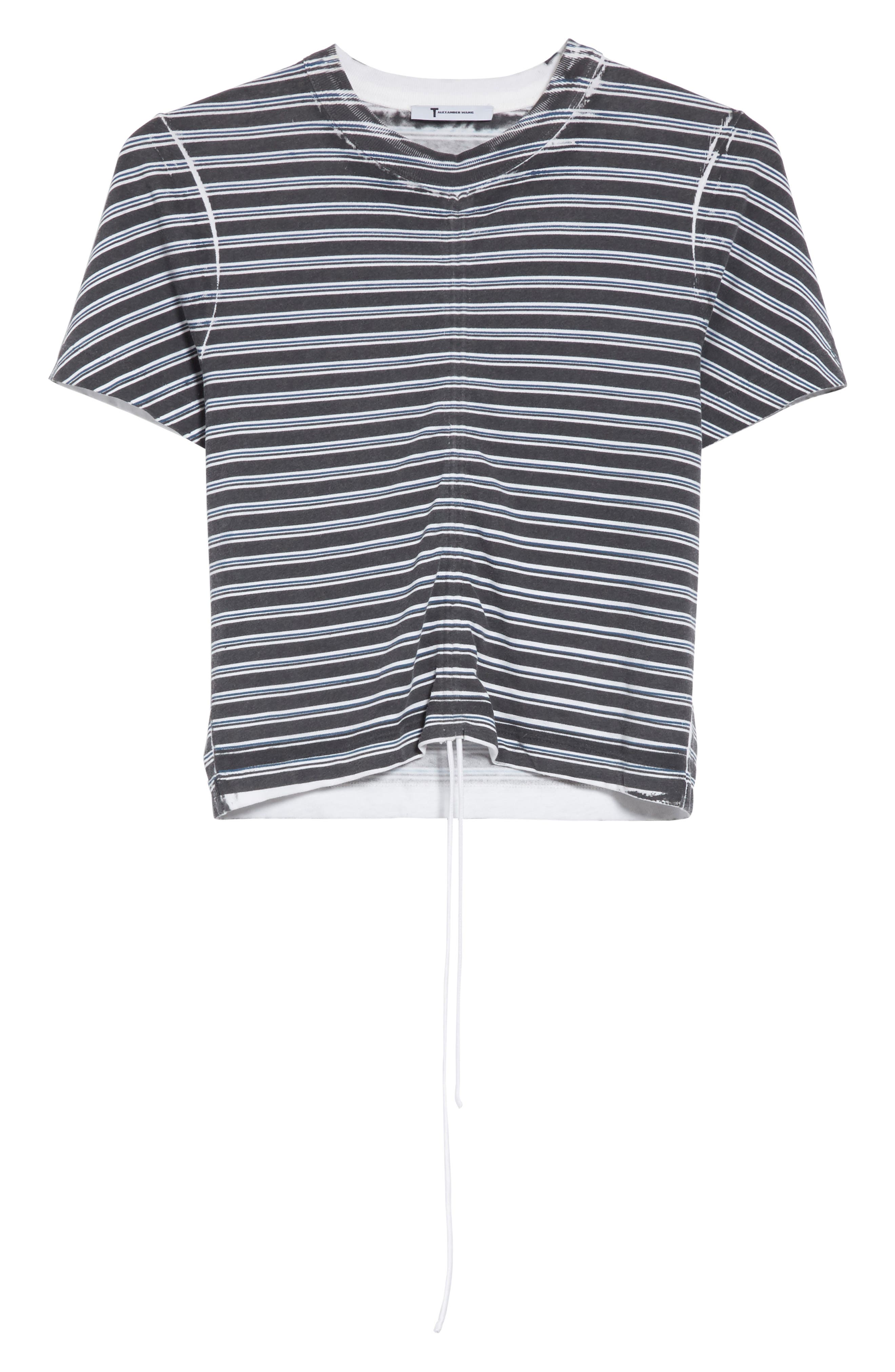 Ruched Stripe Cotton Tee,                             Alternate thumbnail 6, color,