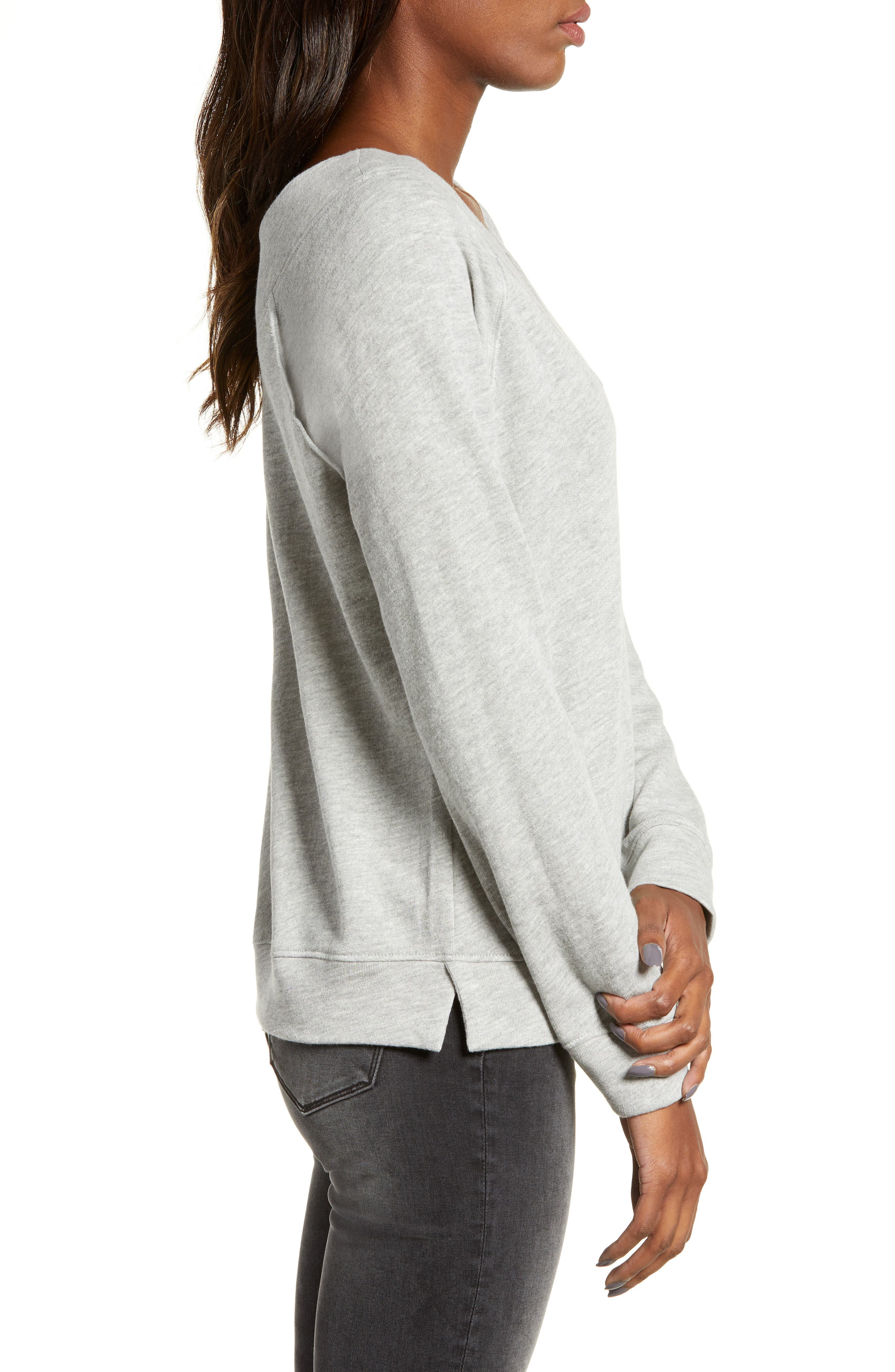 Double V-neck Sweatshirt,                             Alternate thumbnail 4, color,                             GREY PEARL HEATHER