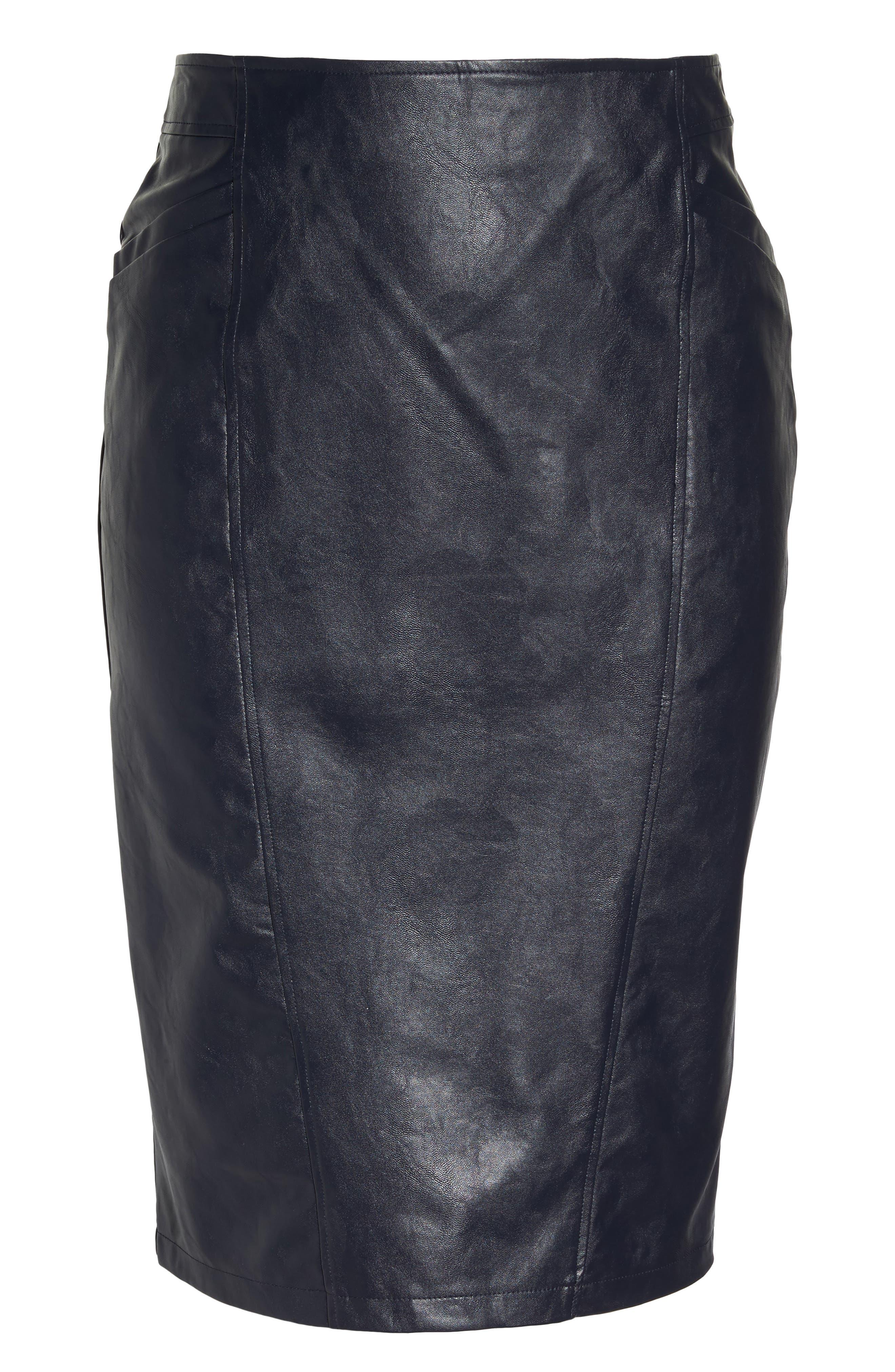 Faux Leather Pencil Skirt,                             Alternate thumbnail 6, color,                             401