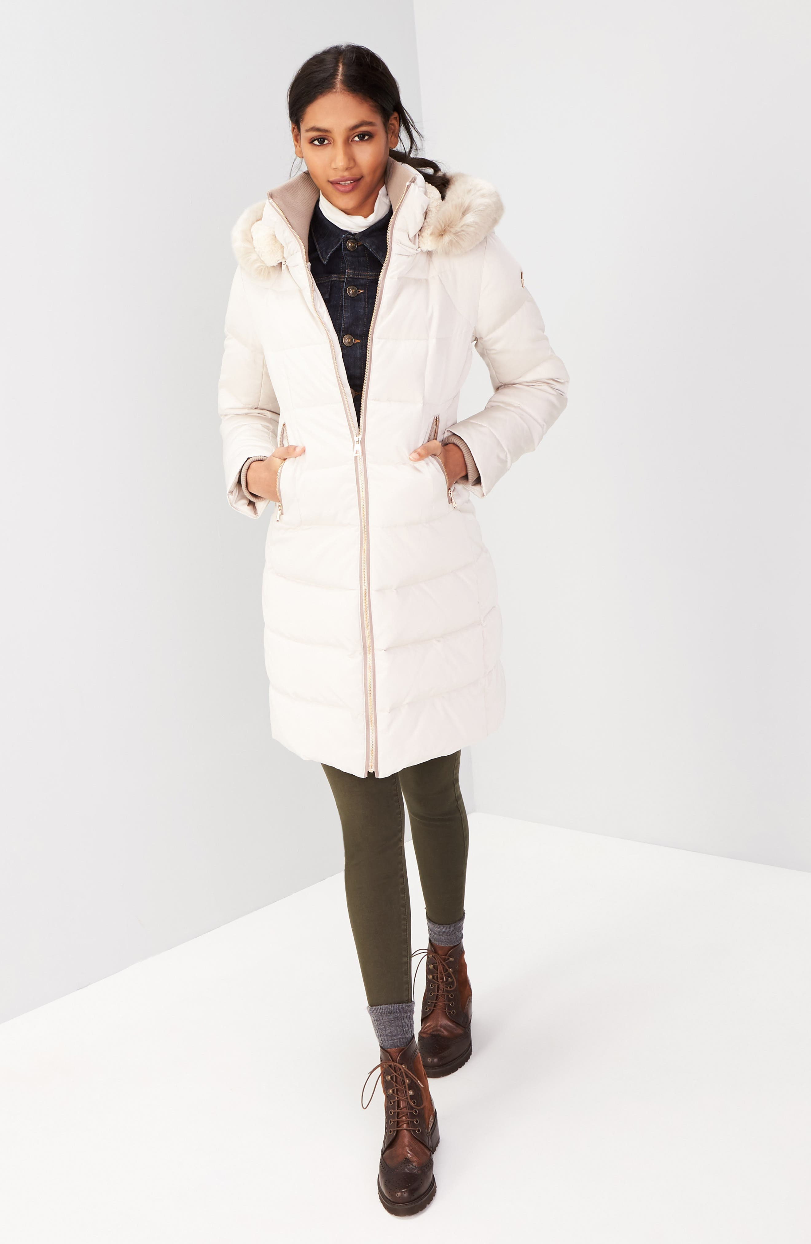 Down & Feather Fill Coat with Faux Fur Trim Hood,                             Alternate thumbnail 9, color,