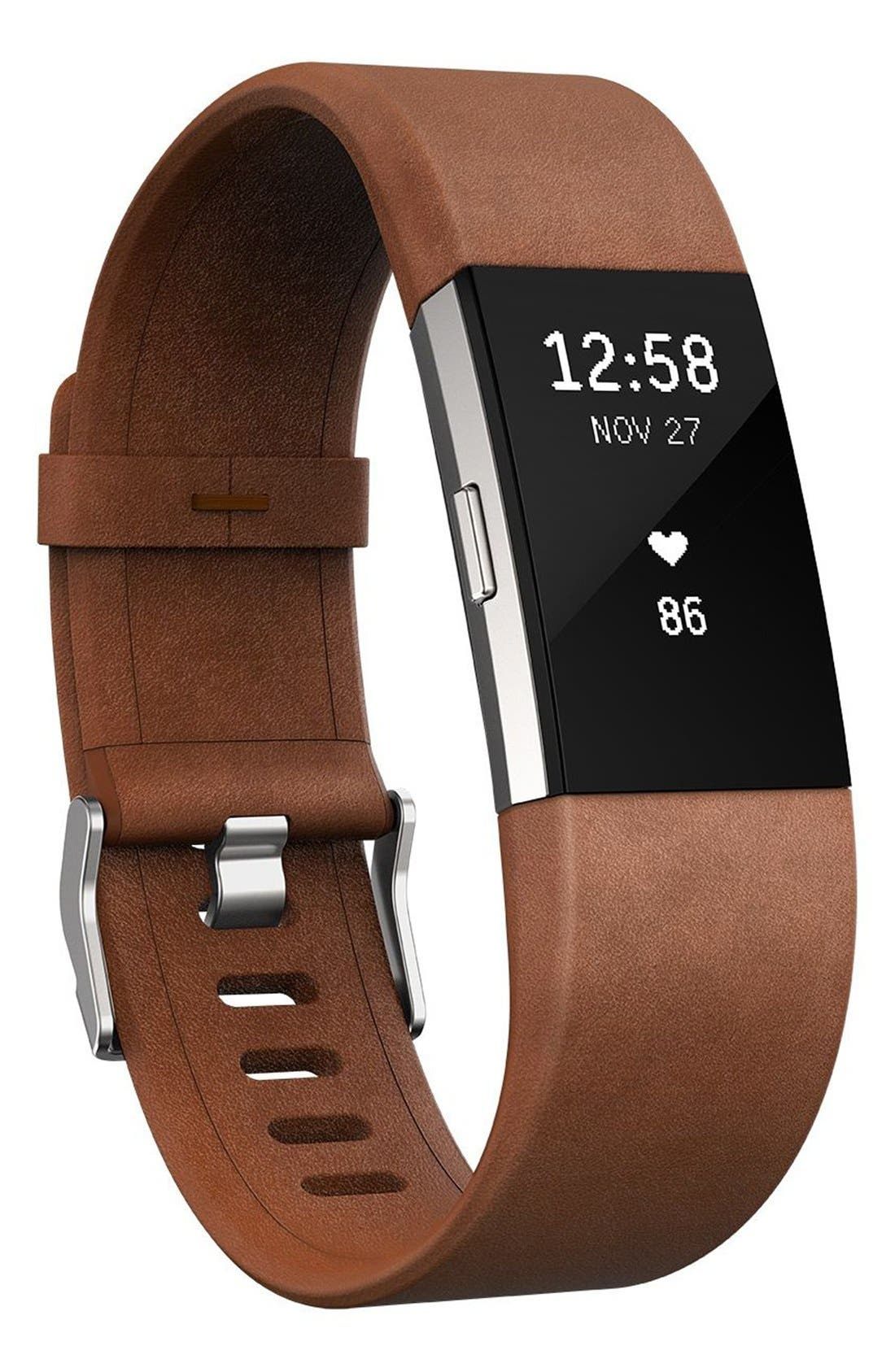 FITBIT,                             Charge 2 Leather Accessory Band,                             Alternate thumbnail 4, color,                             200