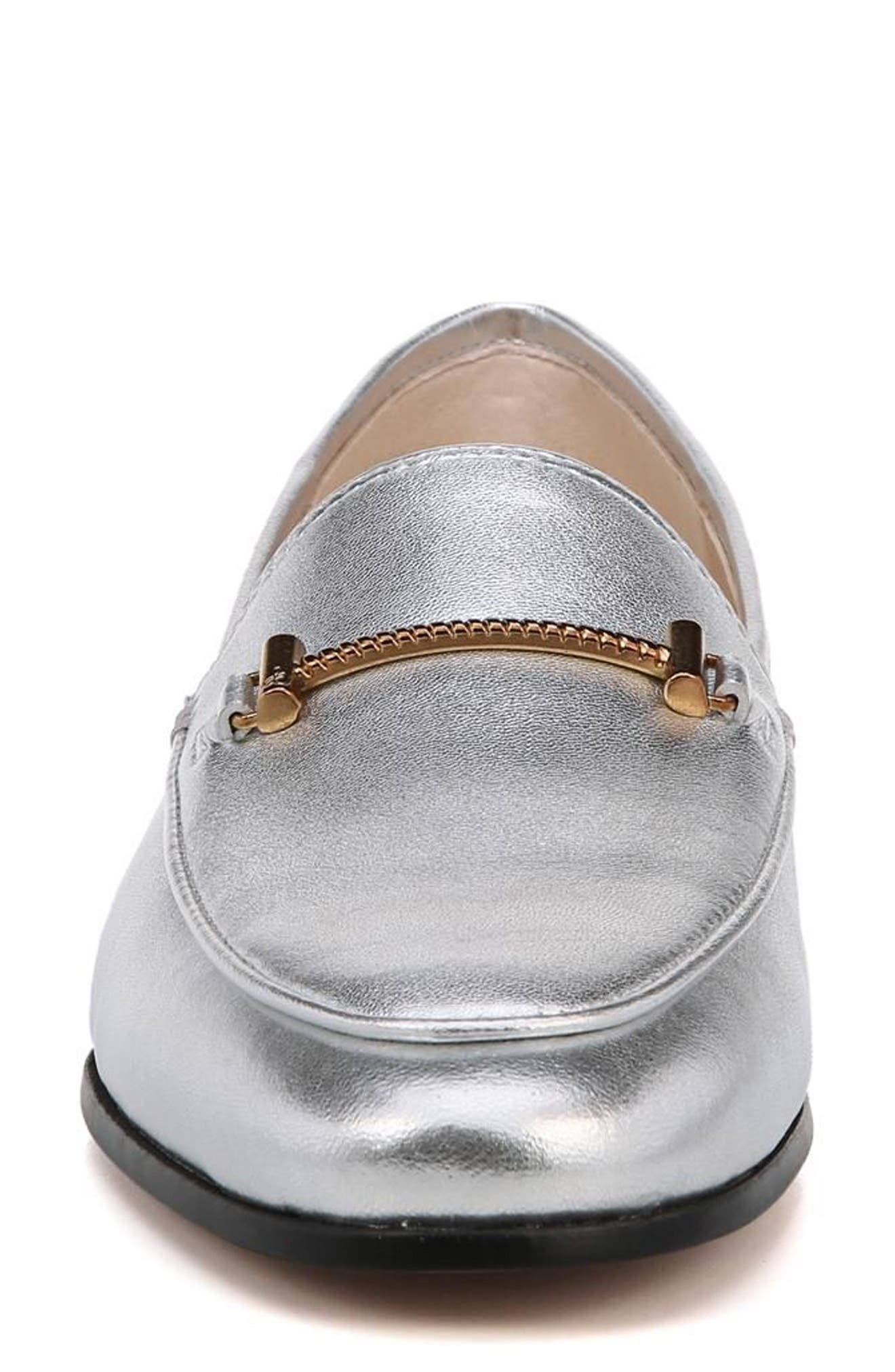 Lior Loafer,                             Alternate thumbnail 4, color,                             SOFT SILVER METALLIC LEATHER