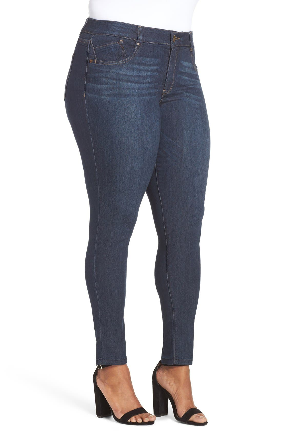 Ab-solution Stretch Skinny Jeans,                             Alternate thumbnail 7, color,                             INDIGO