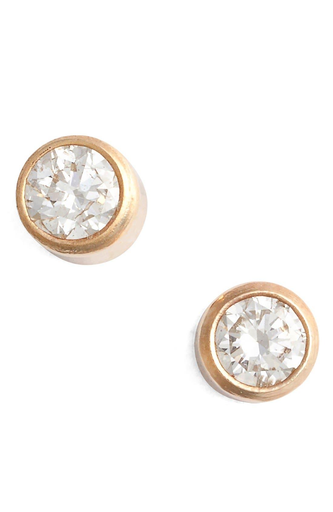 Diamond Bezel Stud Earrings,                         Main,                         color, YELLOW GOLD