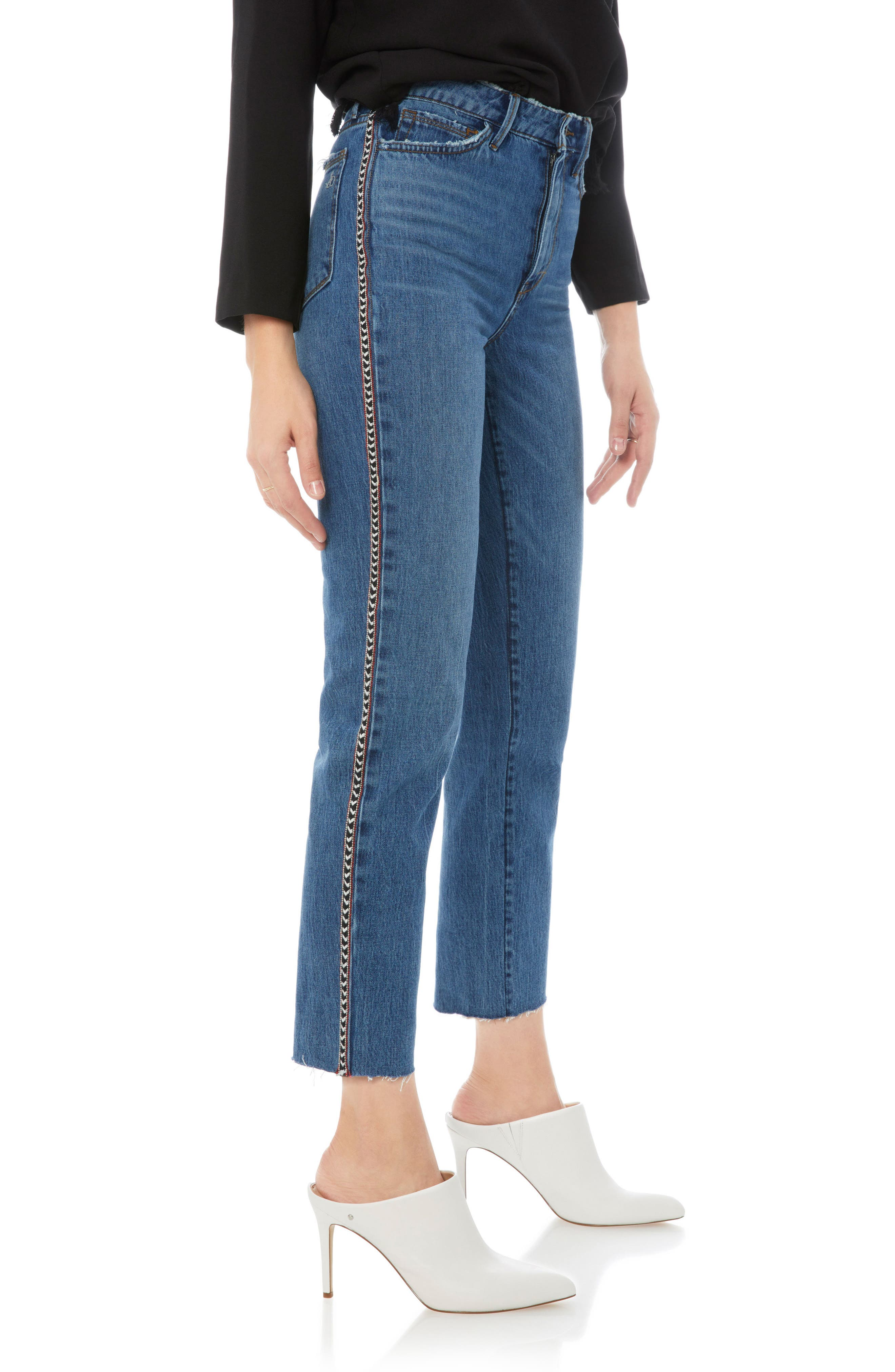 Mary Jane Raw Edge Crop Jeans,                             Alternate thumbnail 3, color,