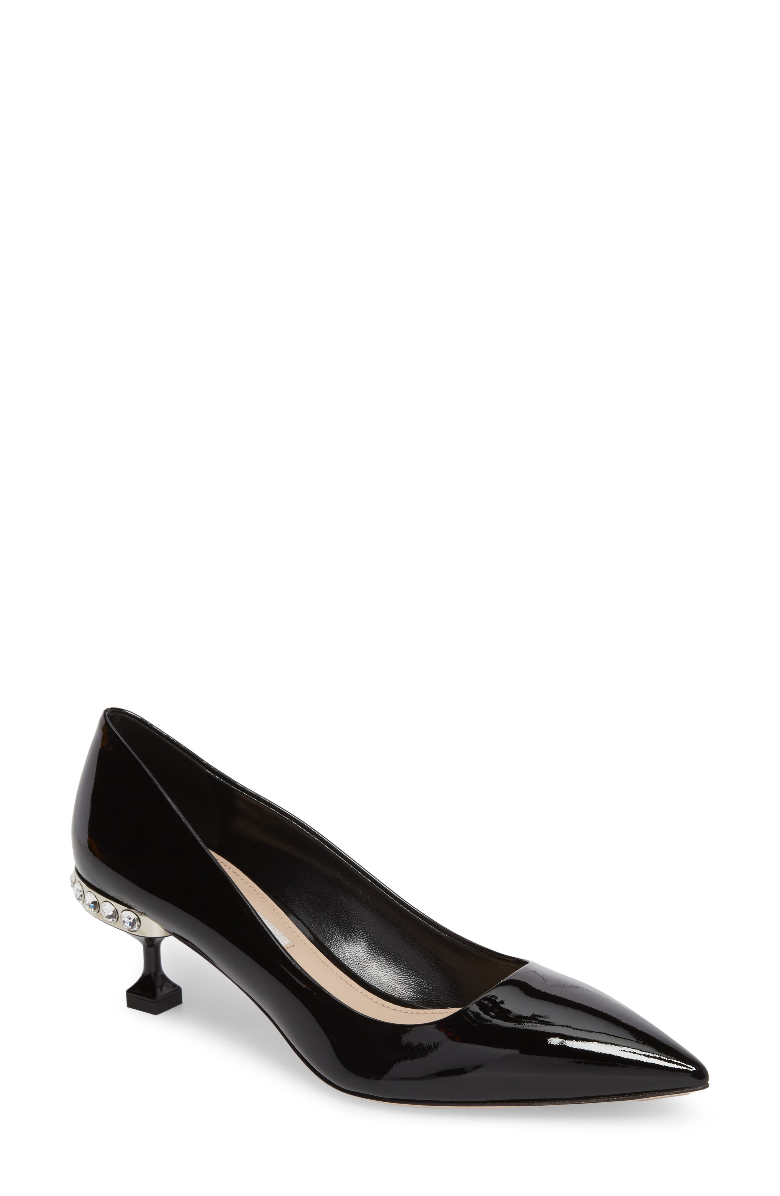 Crystal Heel Pump,                         Main,                         color, BLACK
