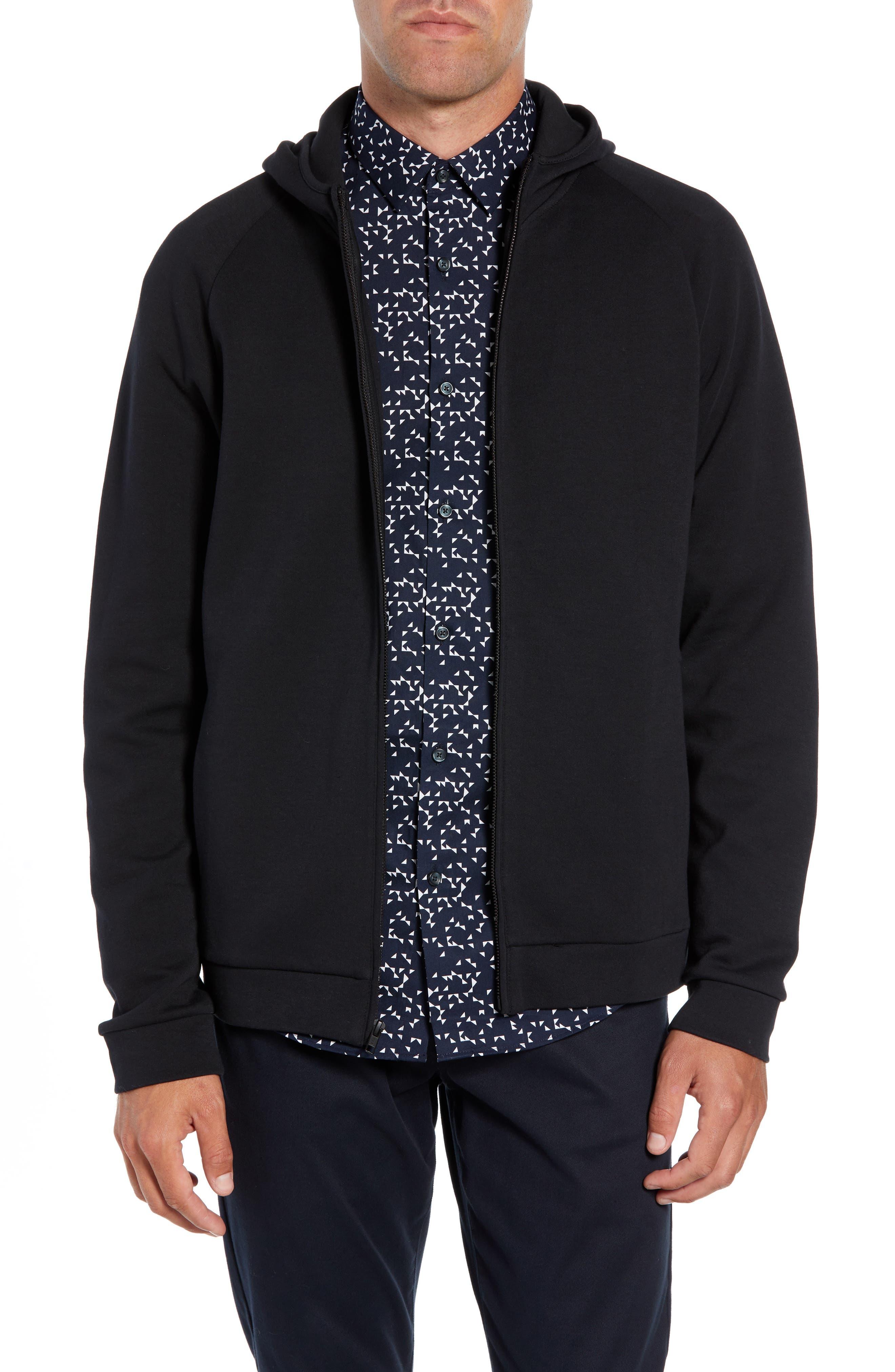 Seamed Zip Hoodie,                         Main,                         color, BLACK