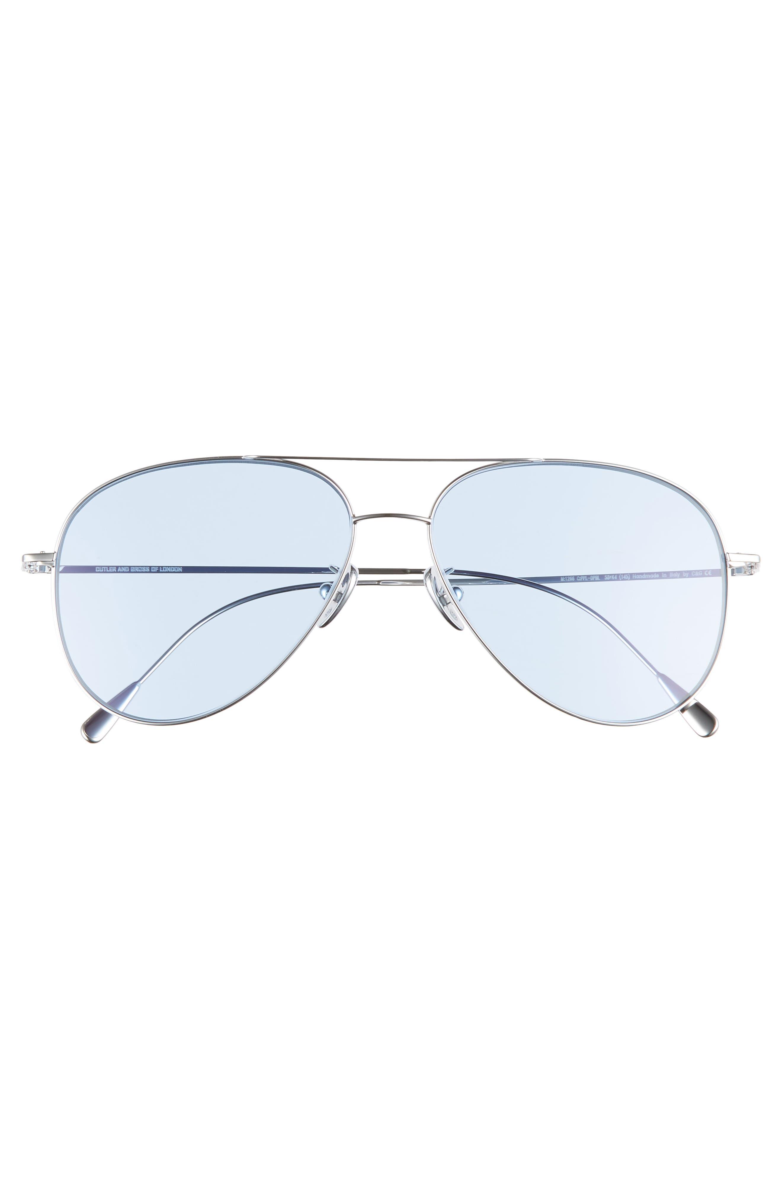 58mm Polarized Aviator Sunglasses,                             Alternate thumbnail 2, color,                             PALLADIUM/ BLUE