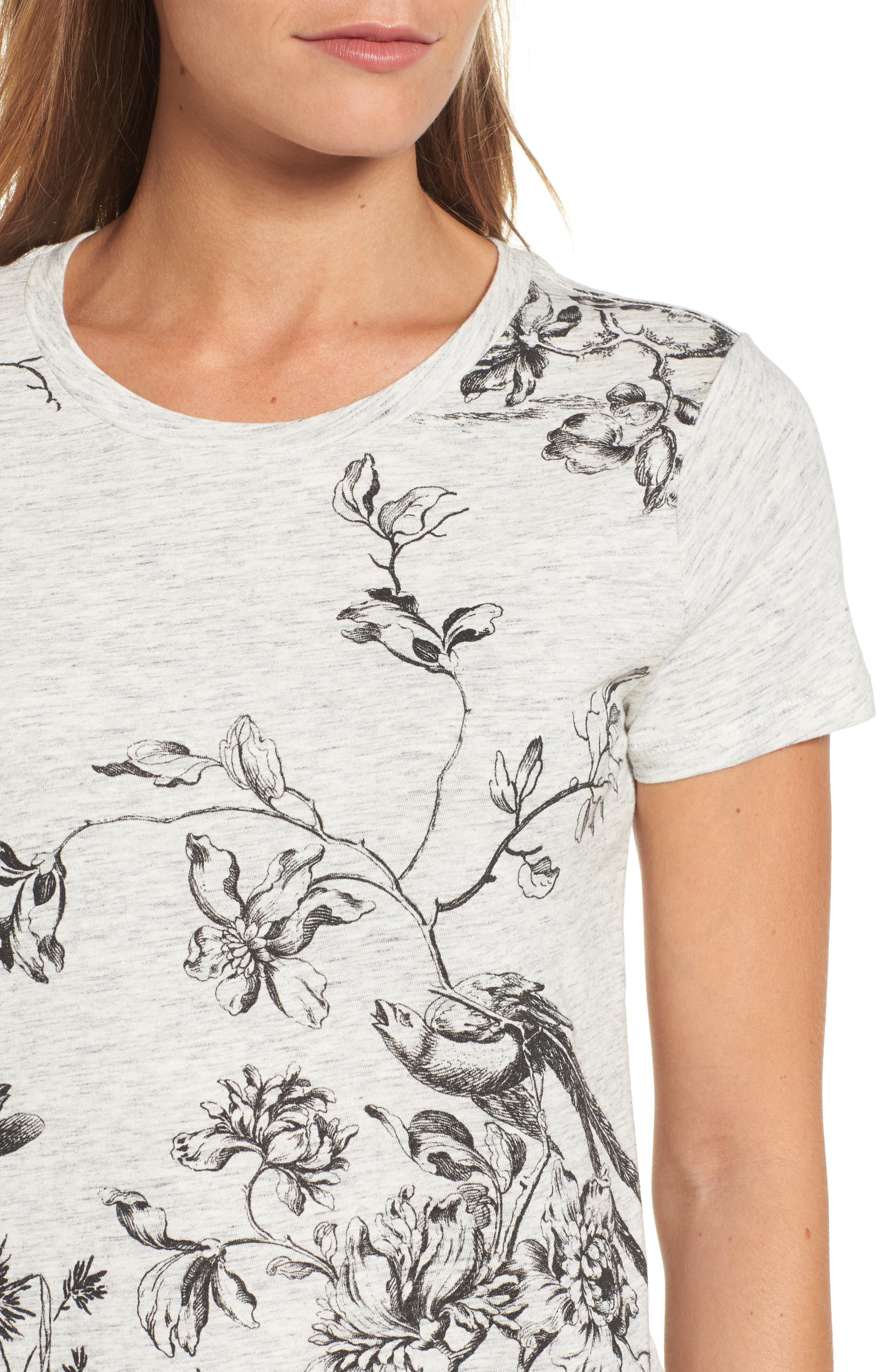 Floral Print Tee,                             Alternate thumbnail 4, color,