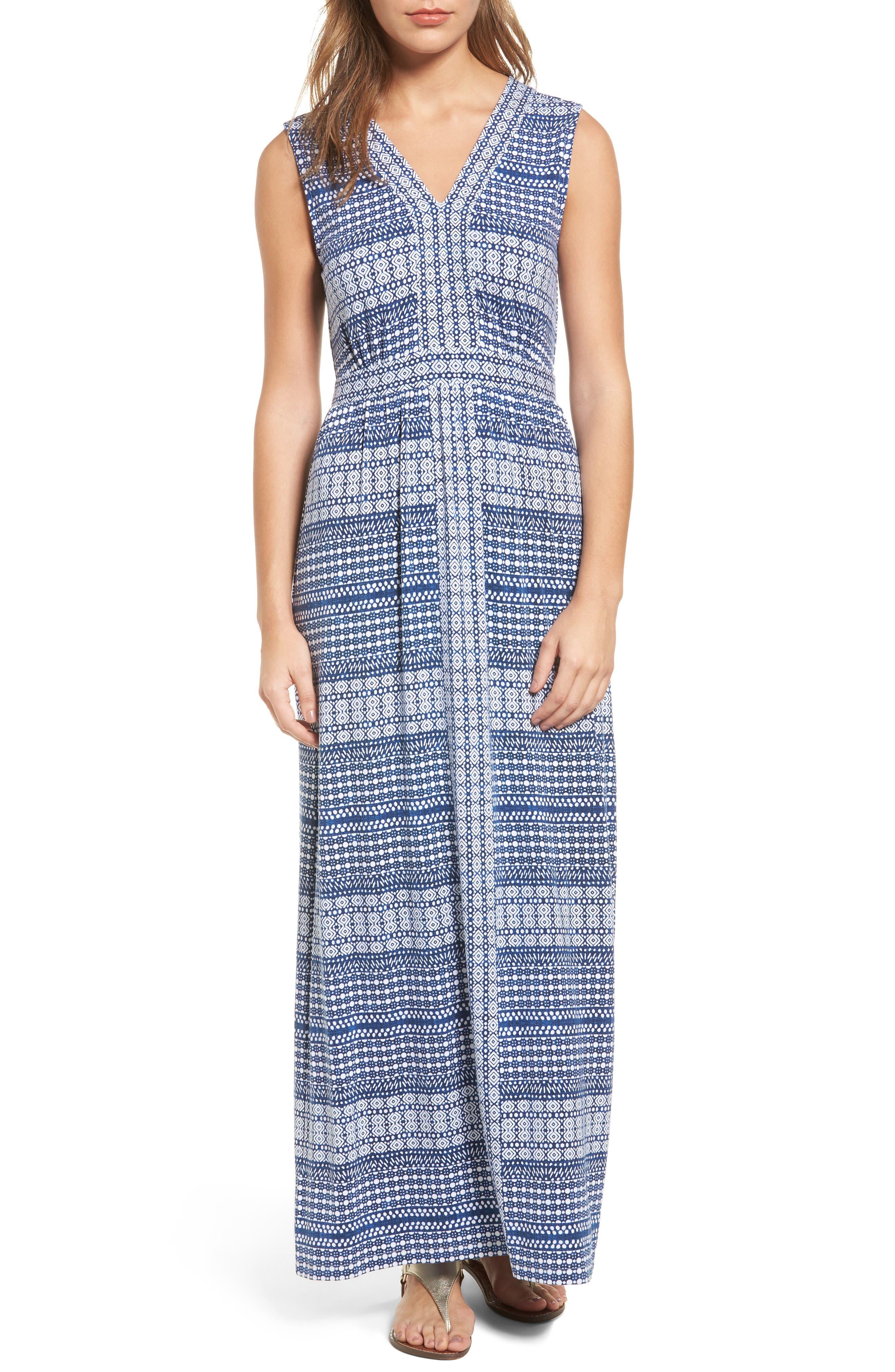 Greek Grid Maxi Dress,                             Main thumbnail 1, color,                             400