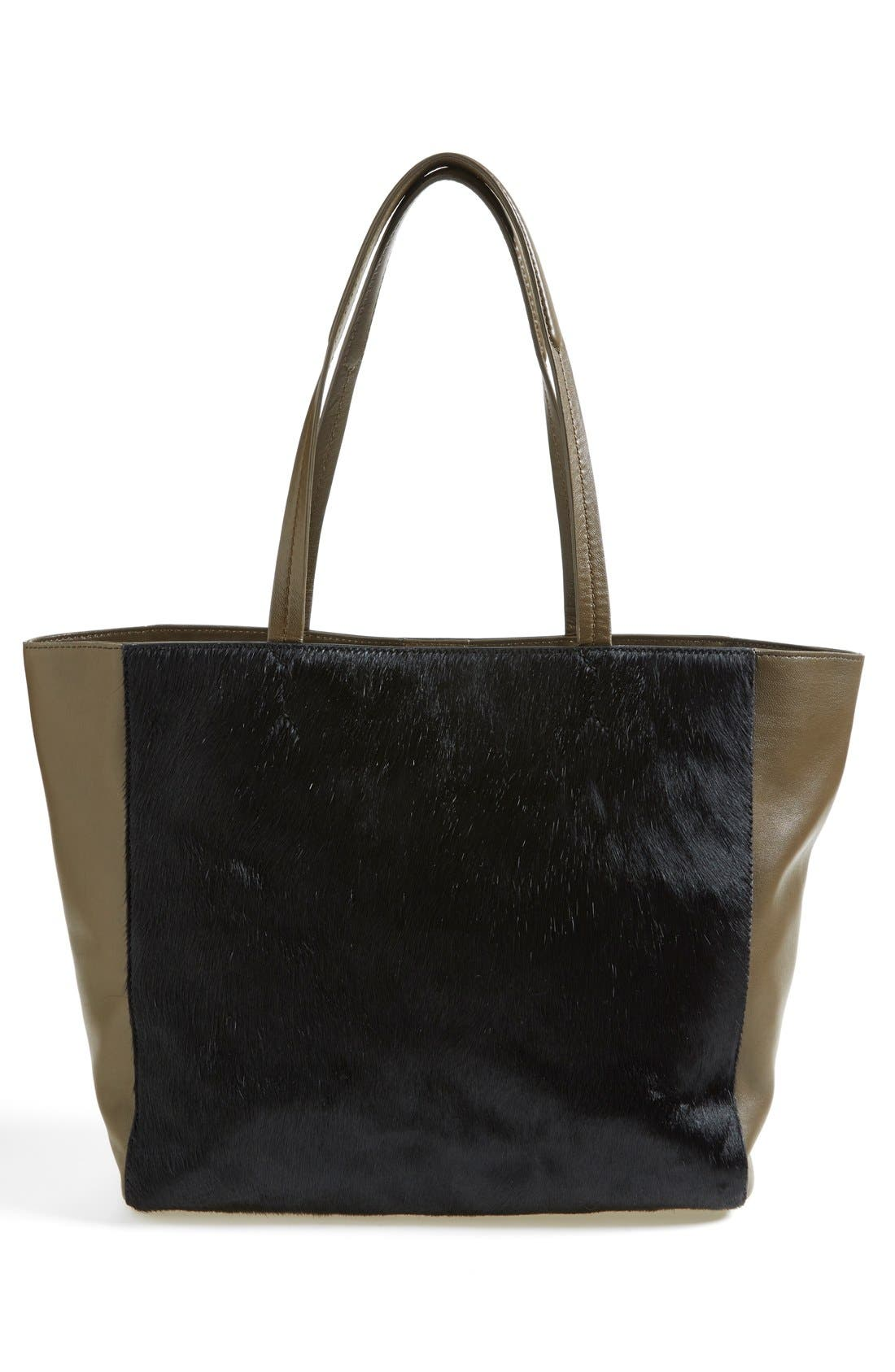 'James' Genuine Calf Hair & Leather Tote,                             Alternate thumbnail 4, color,                             001
