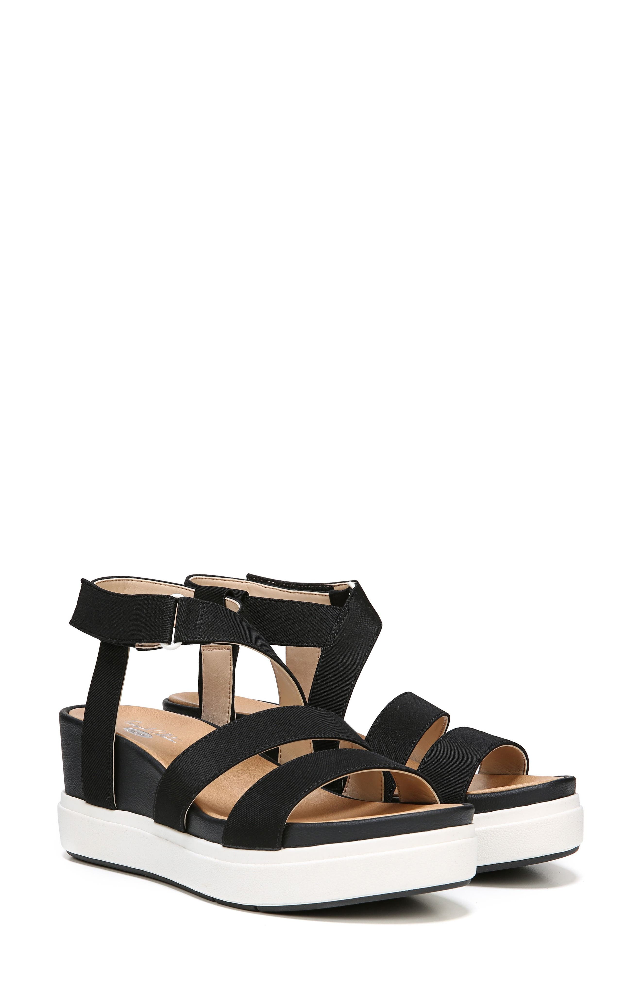 Social Wedge Sandal,                             Main thumbnail 1, color,                             BLACK