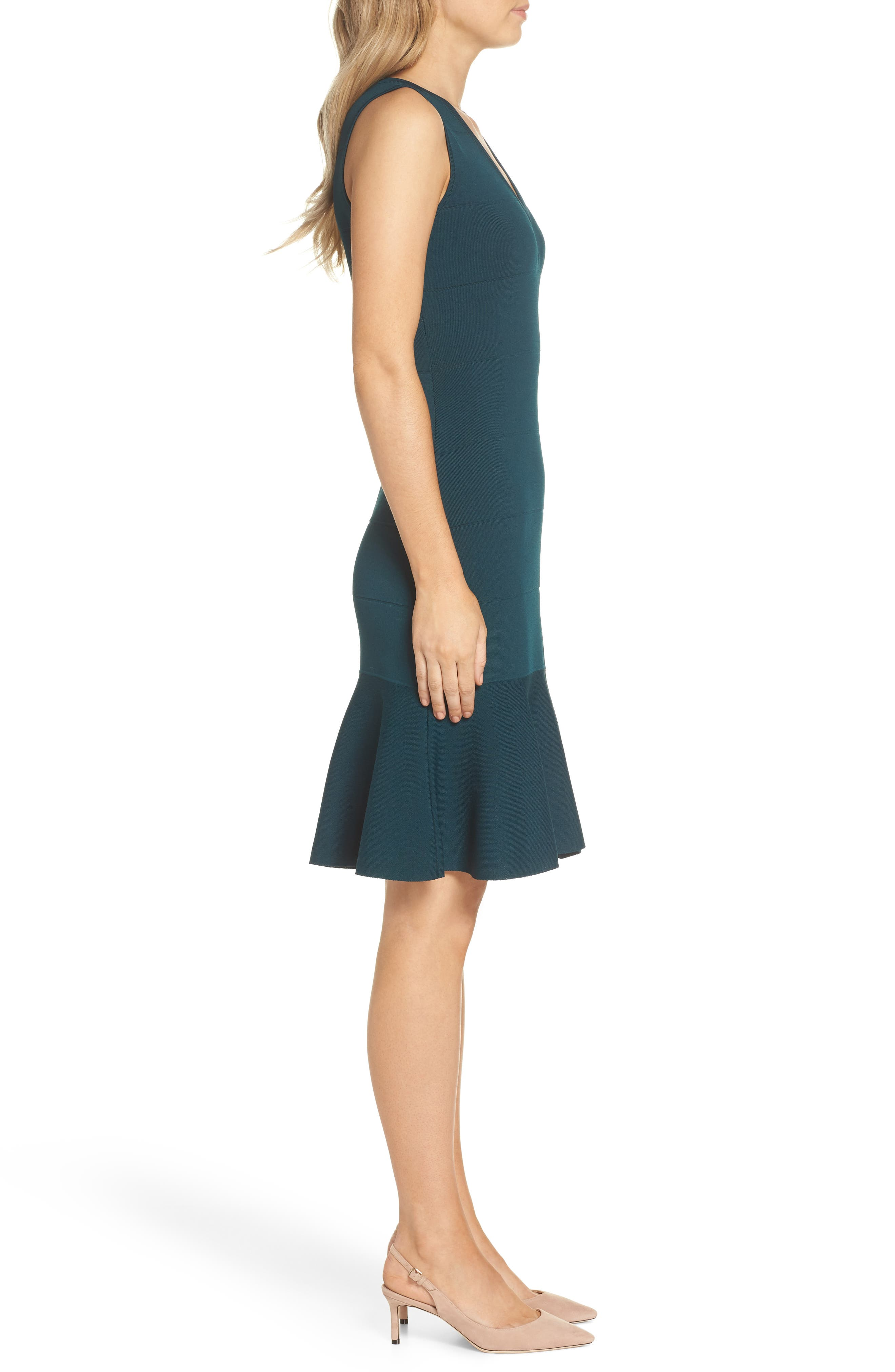 Flounce Hem Sweater Dress,                             Alternate thumbnail 3, color,                             GREEN