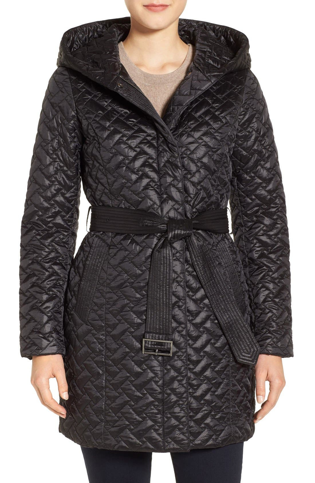 'Thermore' Water Repellent Quilted Coat,                             Main thumbnail 1, color,                             001