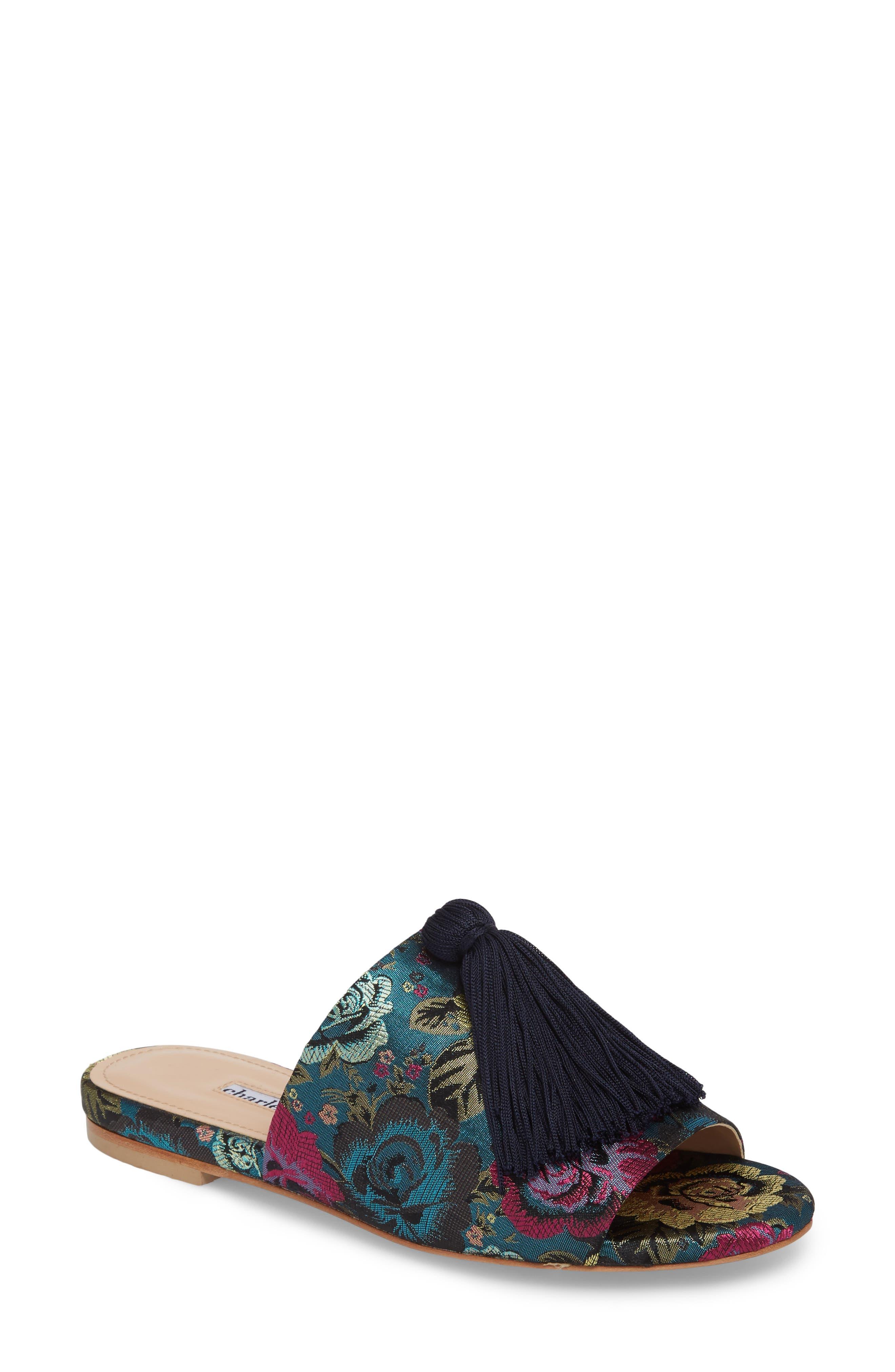 Charles David Sashay Tasseled Slide Sandal, Blue