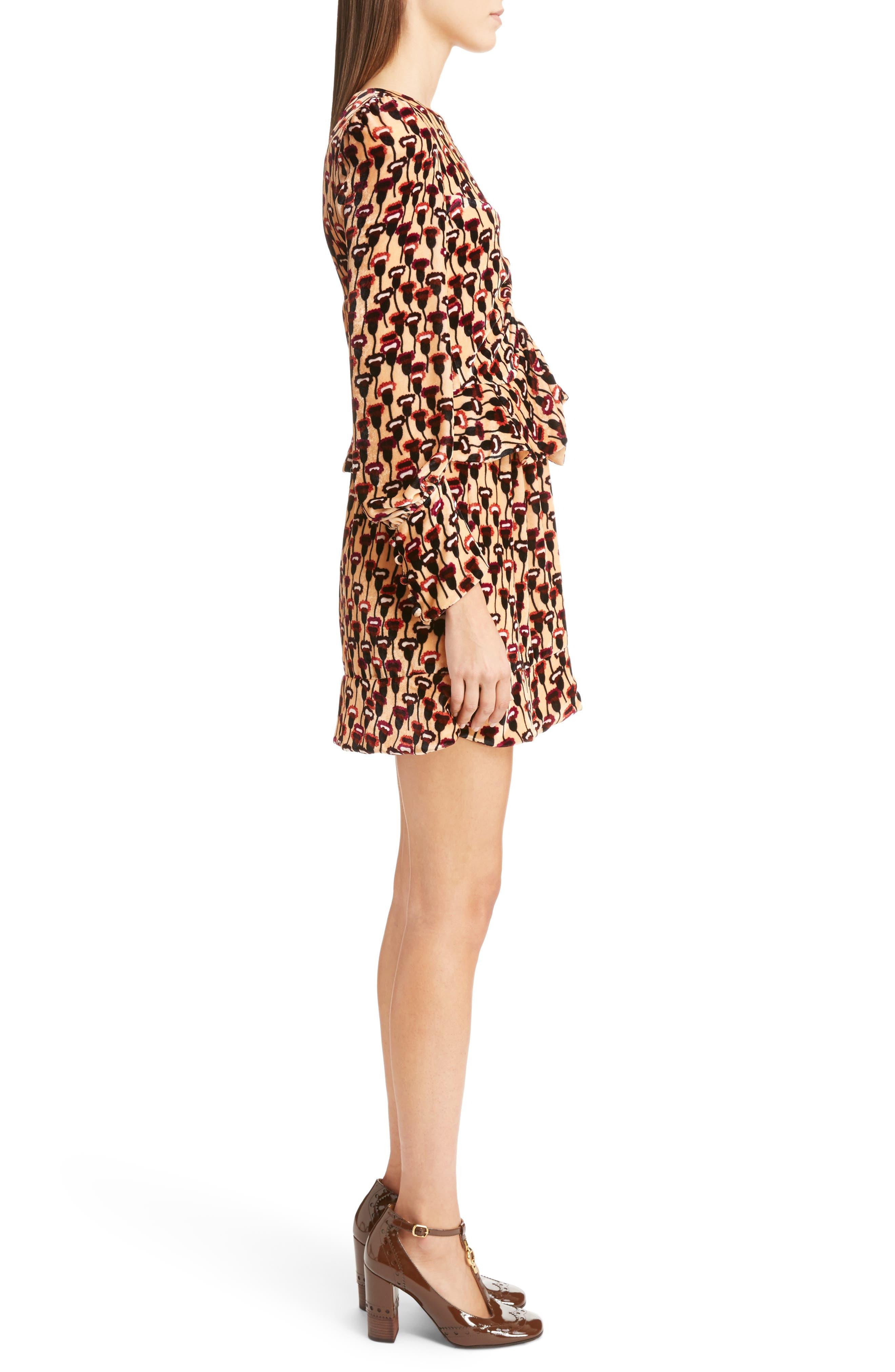 Poppy Print Velvet Peplum Dress,                             Alternate thumbnail 3, color,                             800